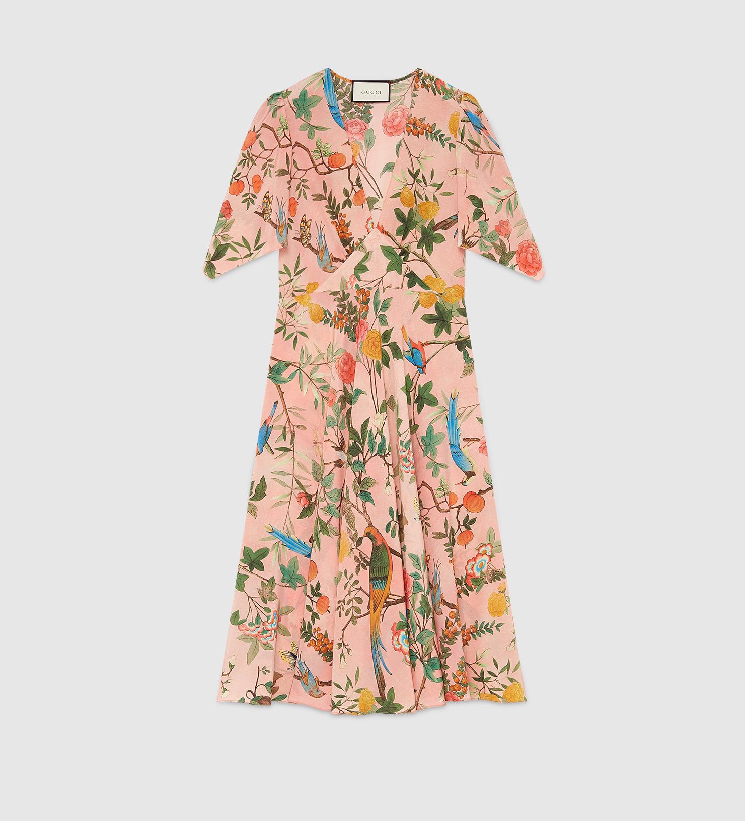 274cd1bab Gucci Tian Print Silk V-neck Dress - Lyst