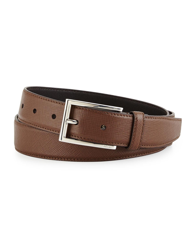 Prada Saffiano Basic Buckle Belt In Brown For Men