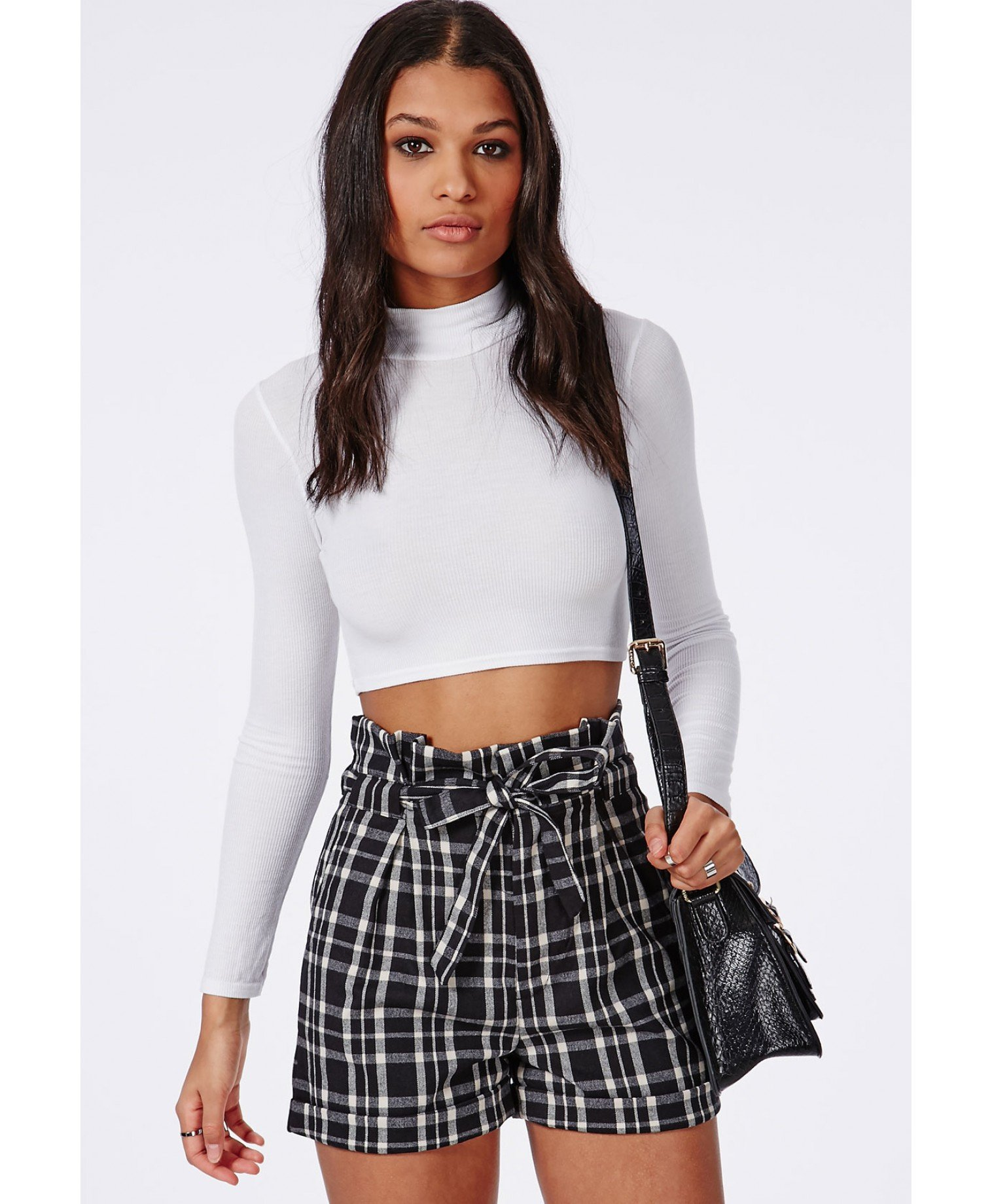 Missguided Greta Paperbag Checked High Waisted Shorts Black in ...