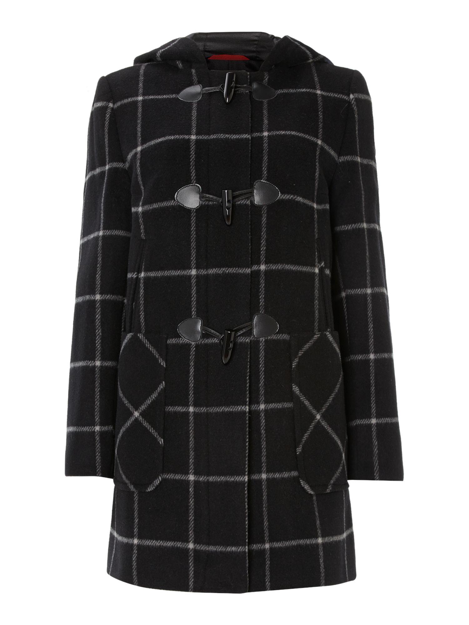 Cloud nine Check Duffle Coat in Black | Lyst