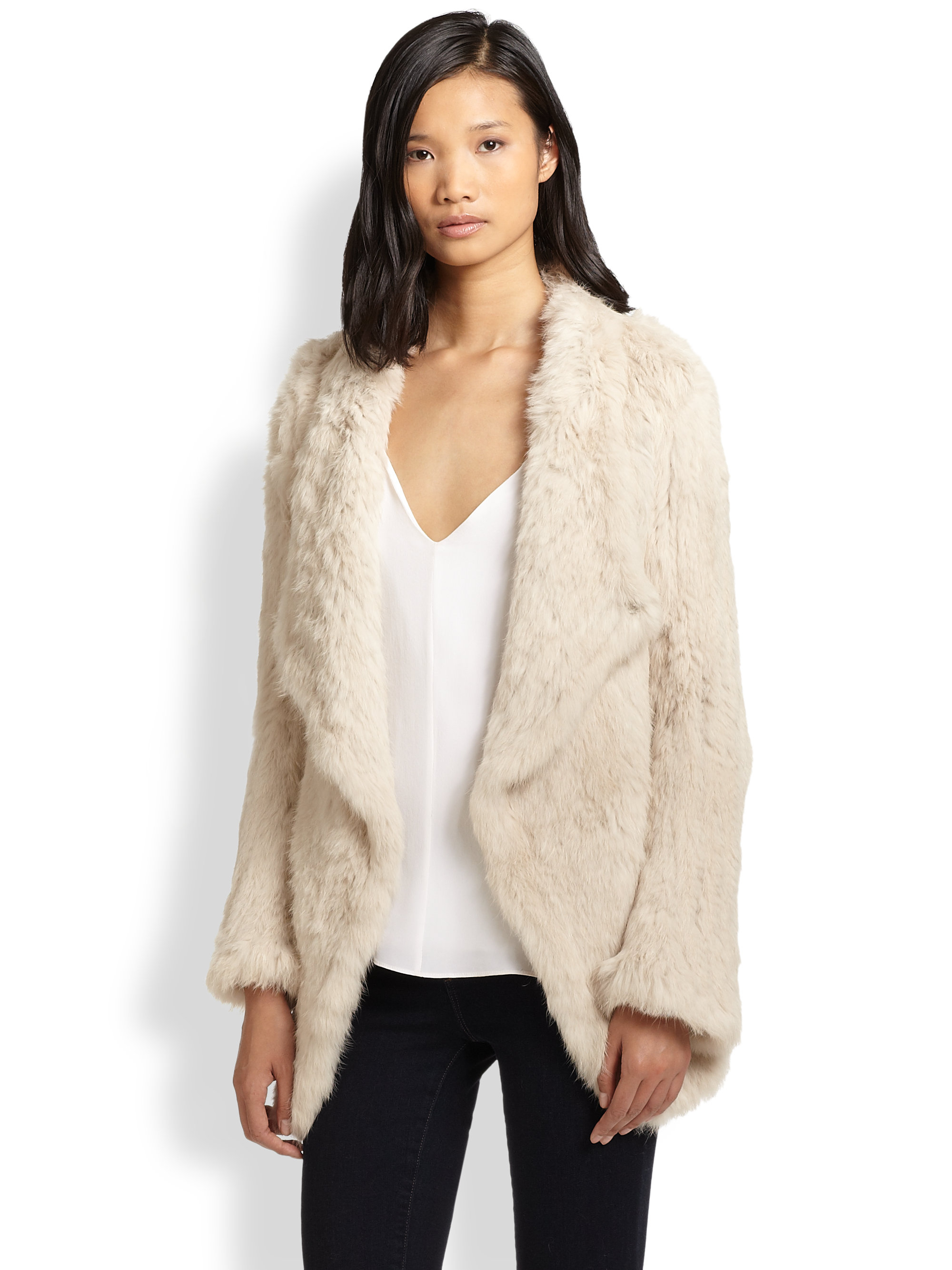June Draped Rabbit Fur Jacket in Natural | Lyst
