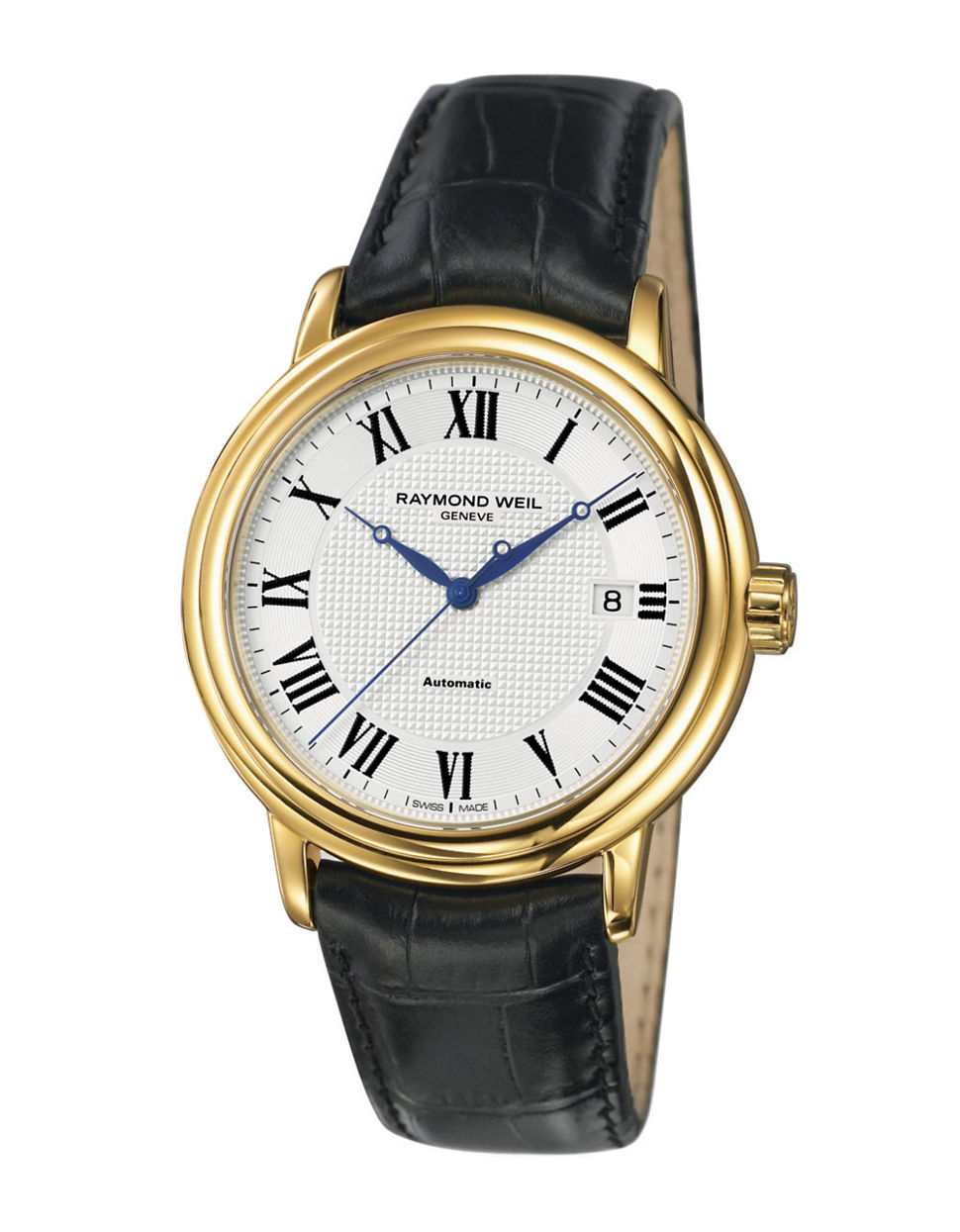 raymond weil mens maestro gold in black for