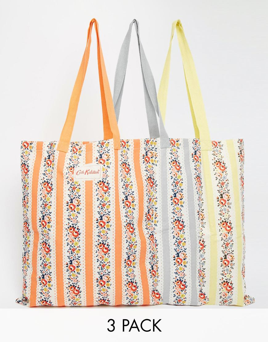 Cath kidston Set Of Three Cotton Book Bags | Lyst
