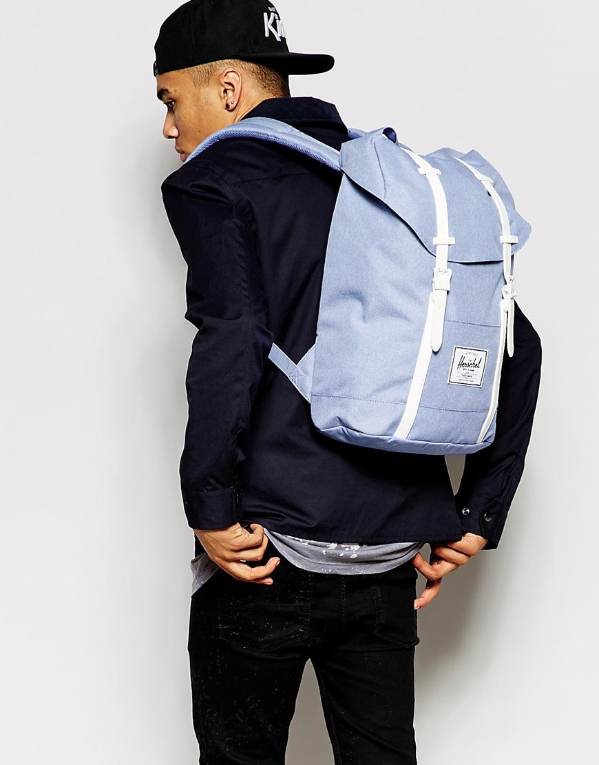 herschel supply co 22l retreat backpack in blue for men lyst. Black Bedroom Furniture Sets. Home Design Ideas