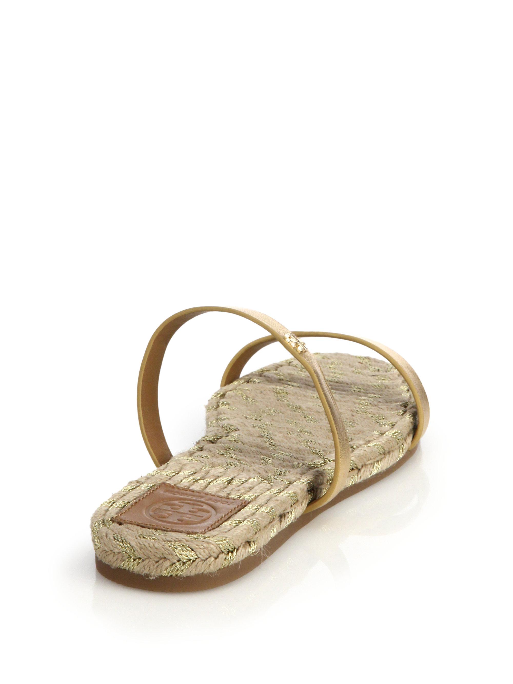 4b2073928895 Lyst - Tory Burch Metallic Leather Espadrille Slide Sandals in Metallic