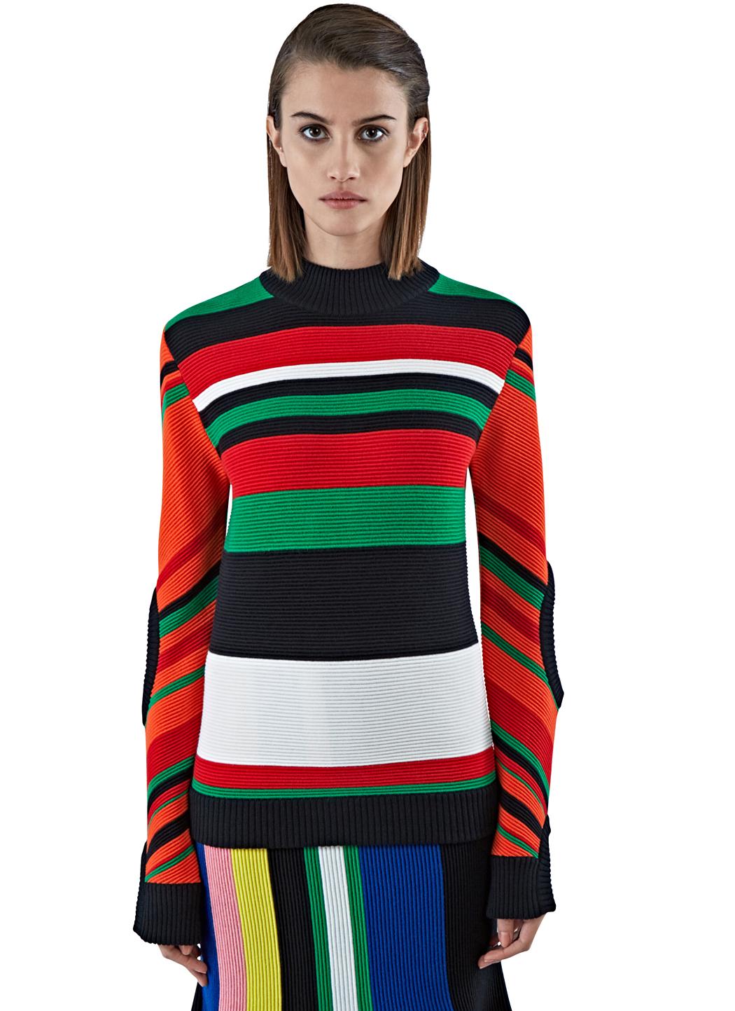 J.w.anderson Women's Ottoman Striped Mock Neck Sweater In Black ...