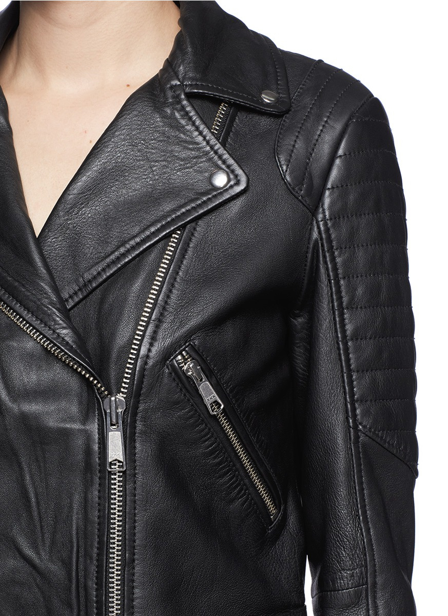 Lyst Whistles Ziggy Leather Biker Jacket In Black
