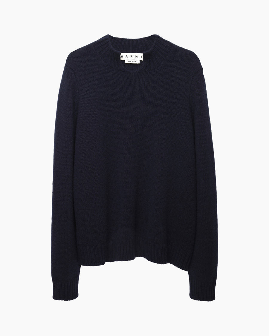 marni crew neck wool cashmere knit in blue for men lyst
