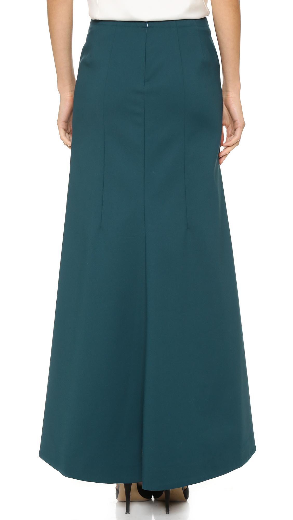 tibi maxi skirt in blue lyst