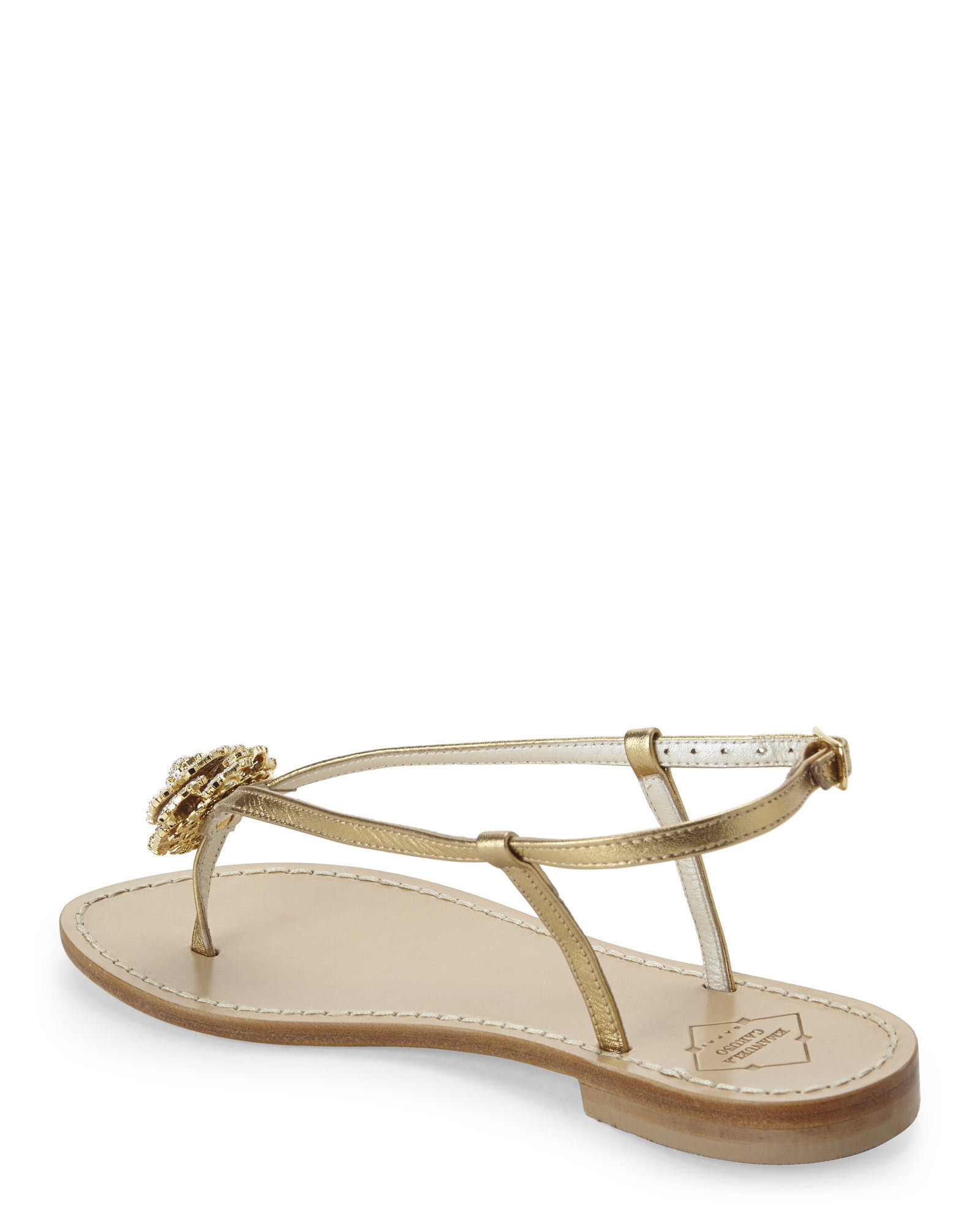 Emanuela Caruso Gold Jeweled Flower Flat Sandals In Beige (Gold) | Lyst