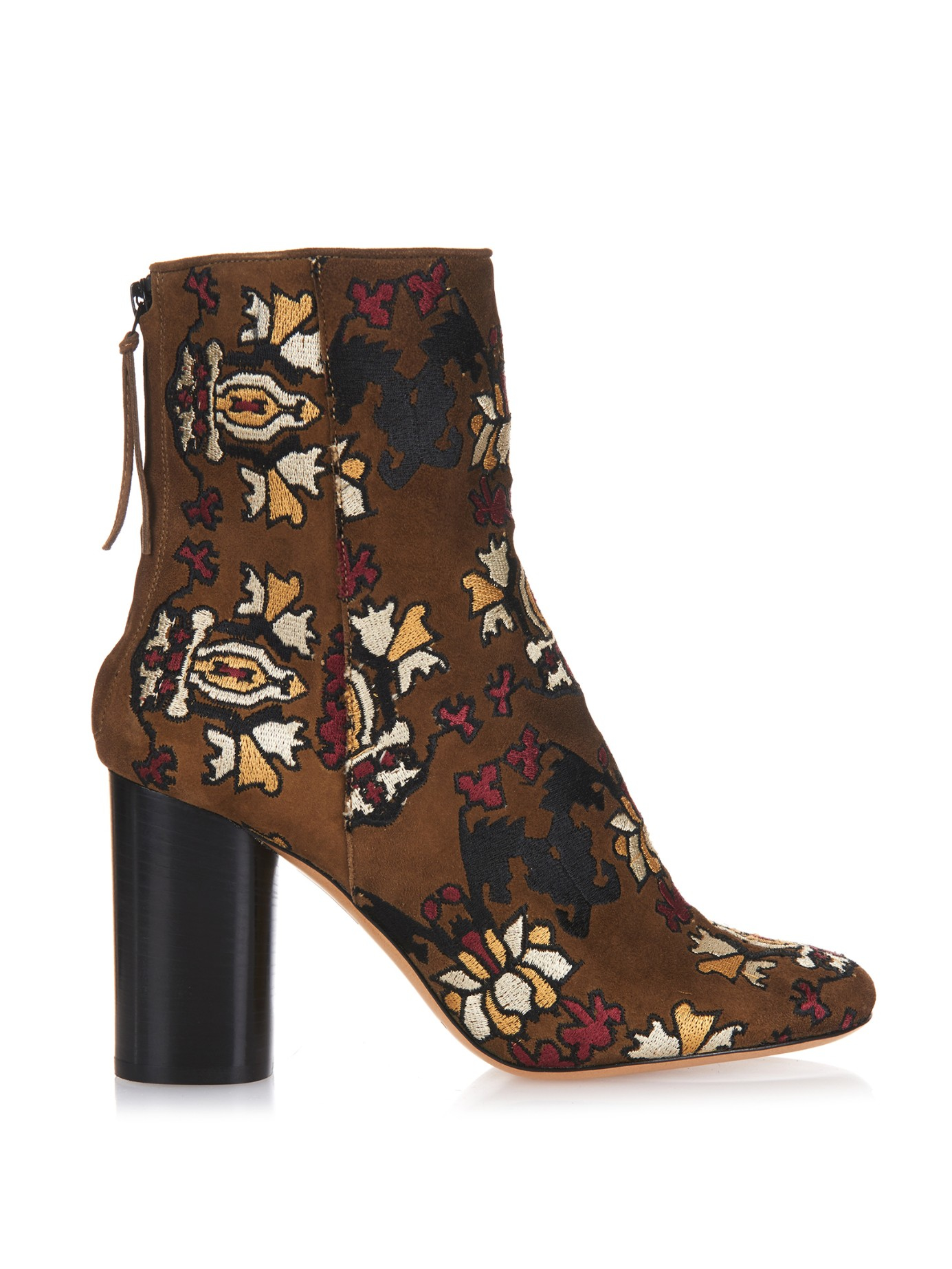 Lyst - Isabel Marant Guya Embroidered Suede Ankle Boots in