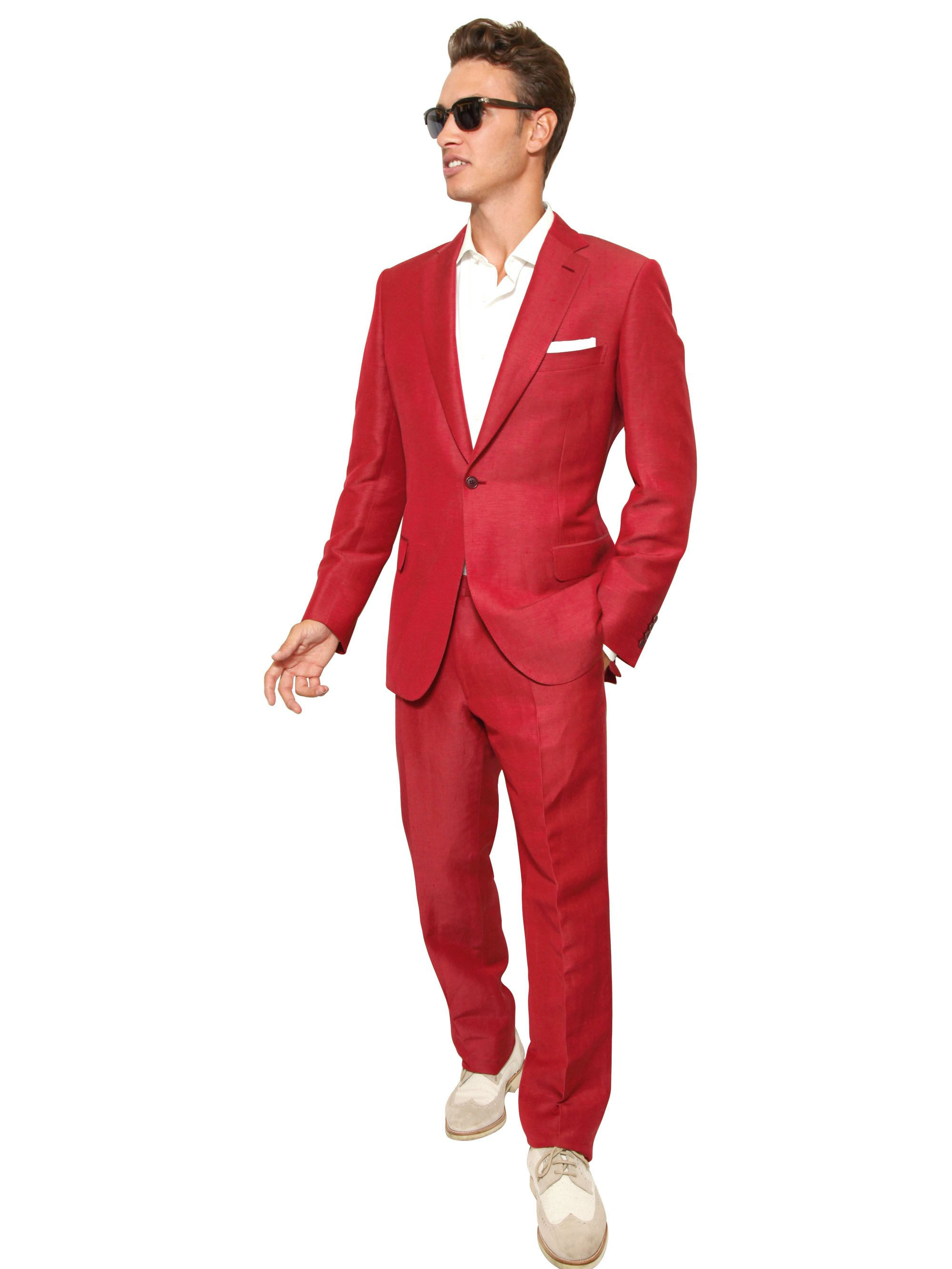 Brioni Linen and Silk Blend Slim Fit Suit in Red for Men | Lyst