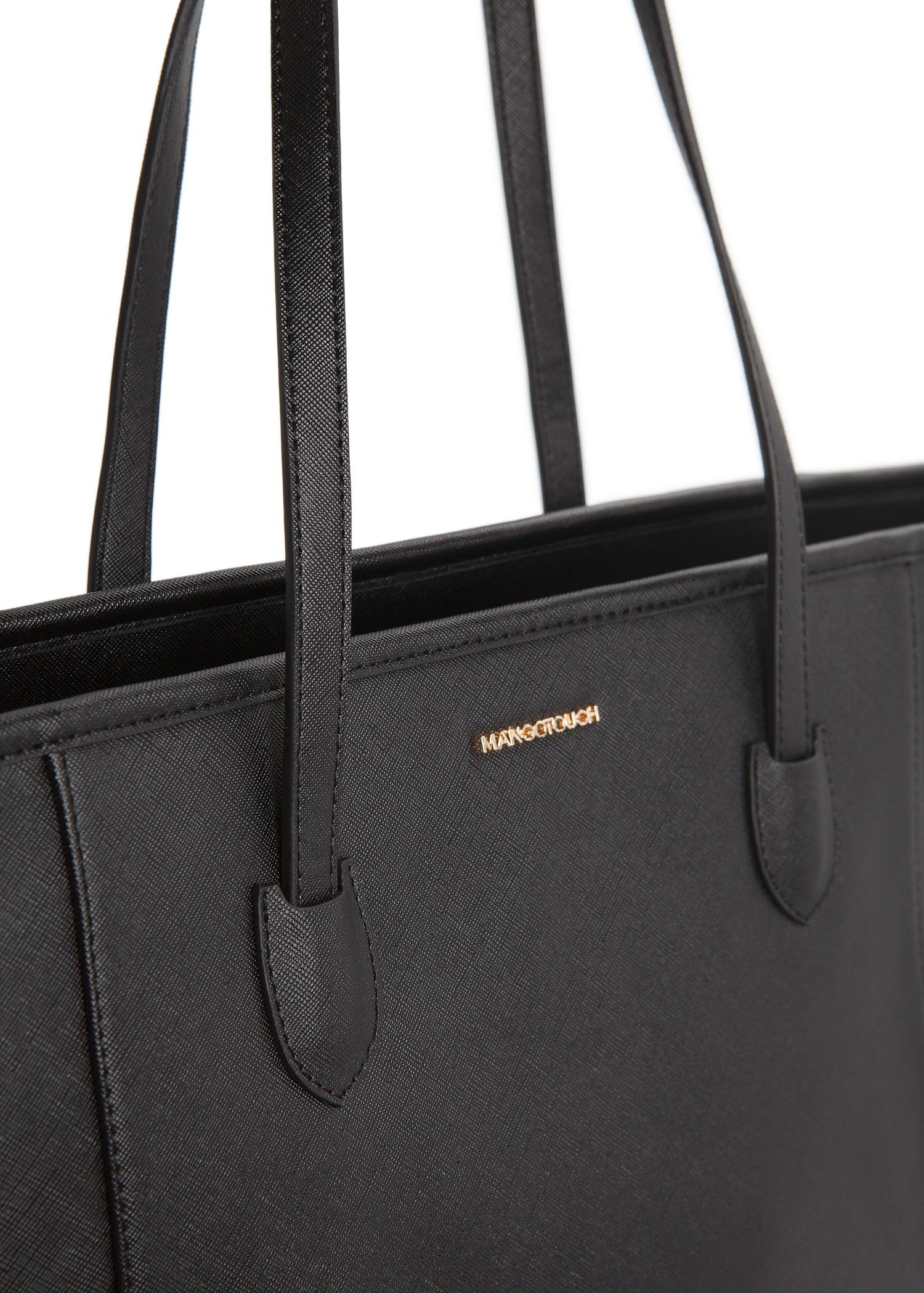 Mango Saffiano-Effect Faux-Leather Shopper in Black | Lyst