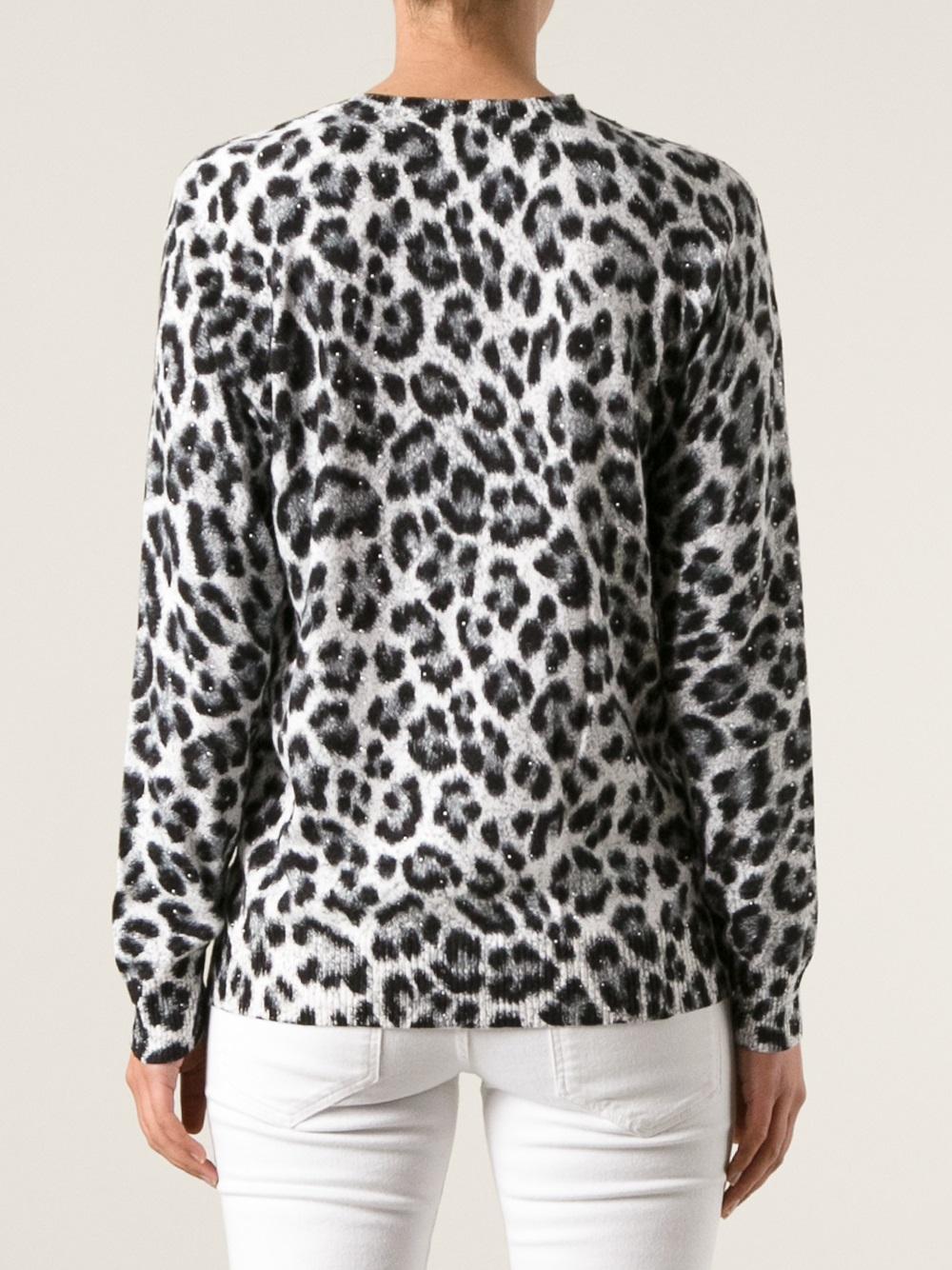 Michael michael kors Leopard Print Sweater in Black | Lyst