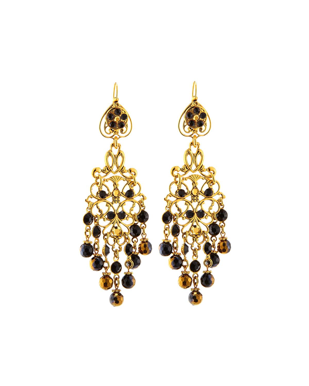 Jose Maria Barrera Crystal Long Chandelier Drop Earrings In Black Lyst