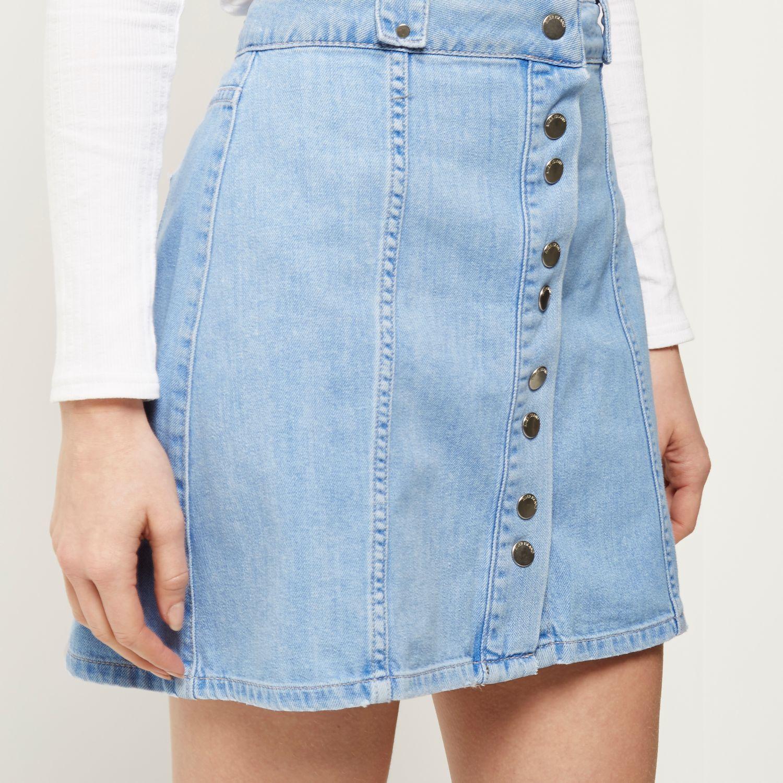 river island blue denim button up skirt in blue lyst