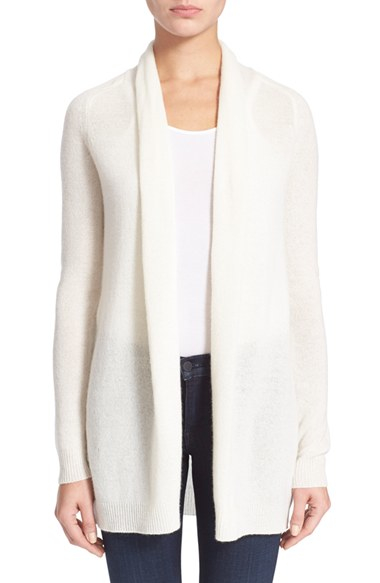 Theory 'ashtry J' Open Front Cashmere Cardigan in White | Lyst