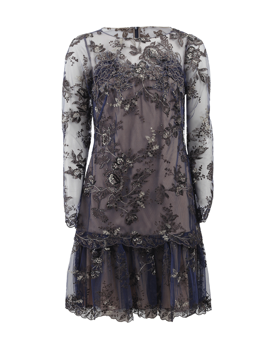 Notte by marchesa embroidered lace cocktail dress in blue