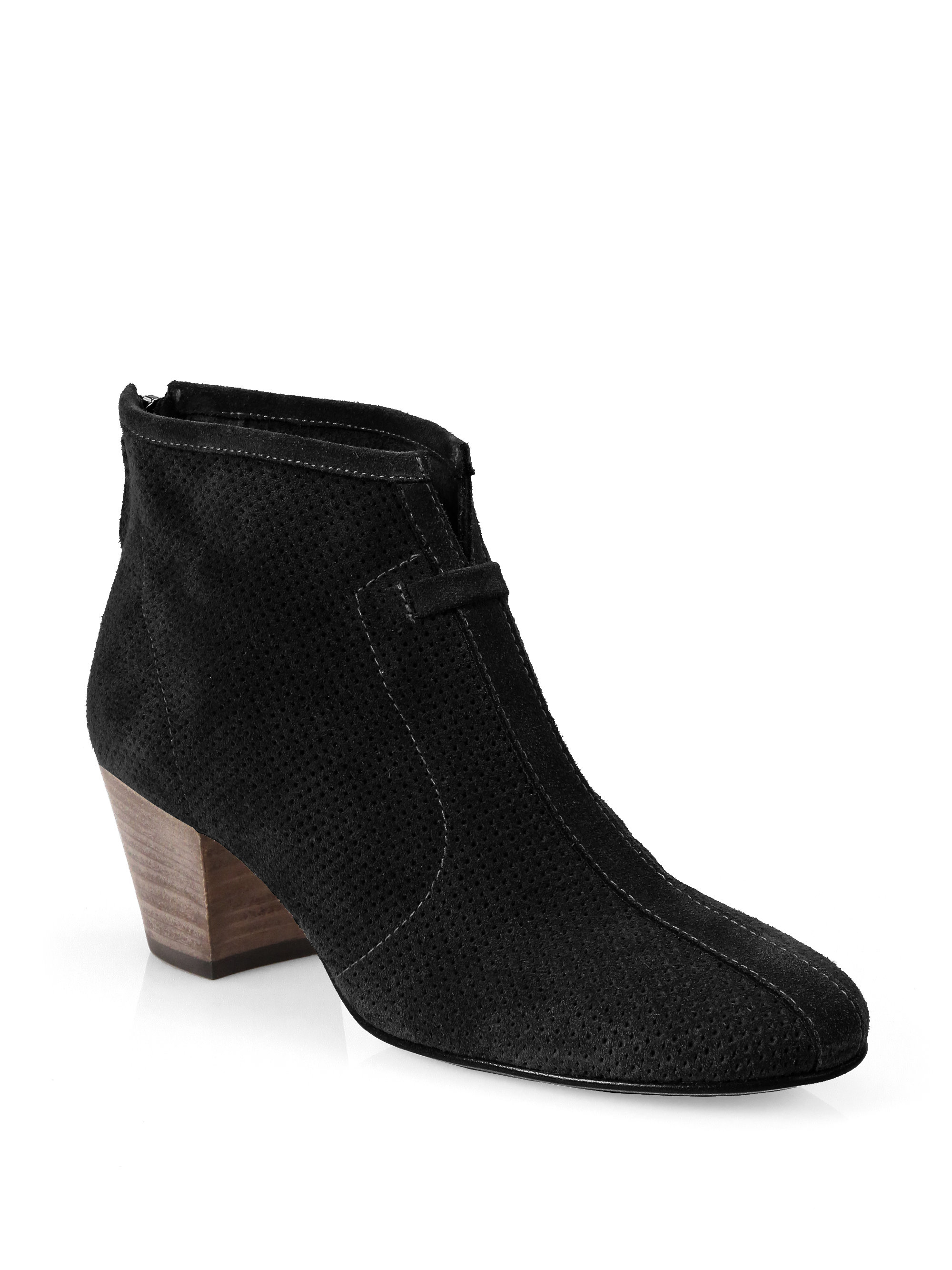 aquatalia xcellent perforated suede ankle boots in black
