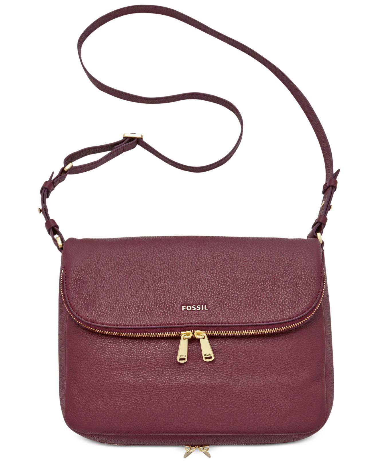 3615a16e0eb4eb Fossil Preston Leather Flap Shoulder Bag in Purple - Lyst