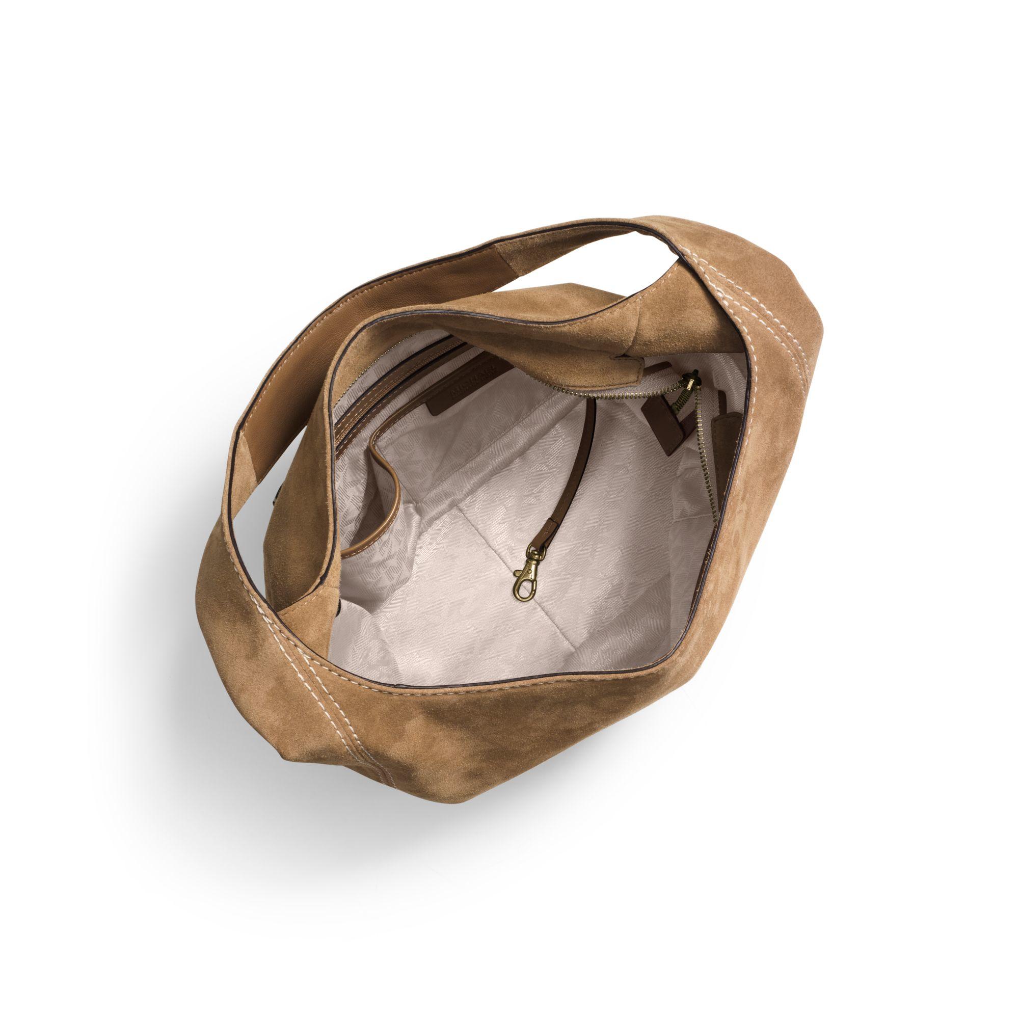 5e344cda00c0 Lyst - Michael Kors Lena Large Suede Shoulder Bag in Brown