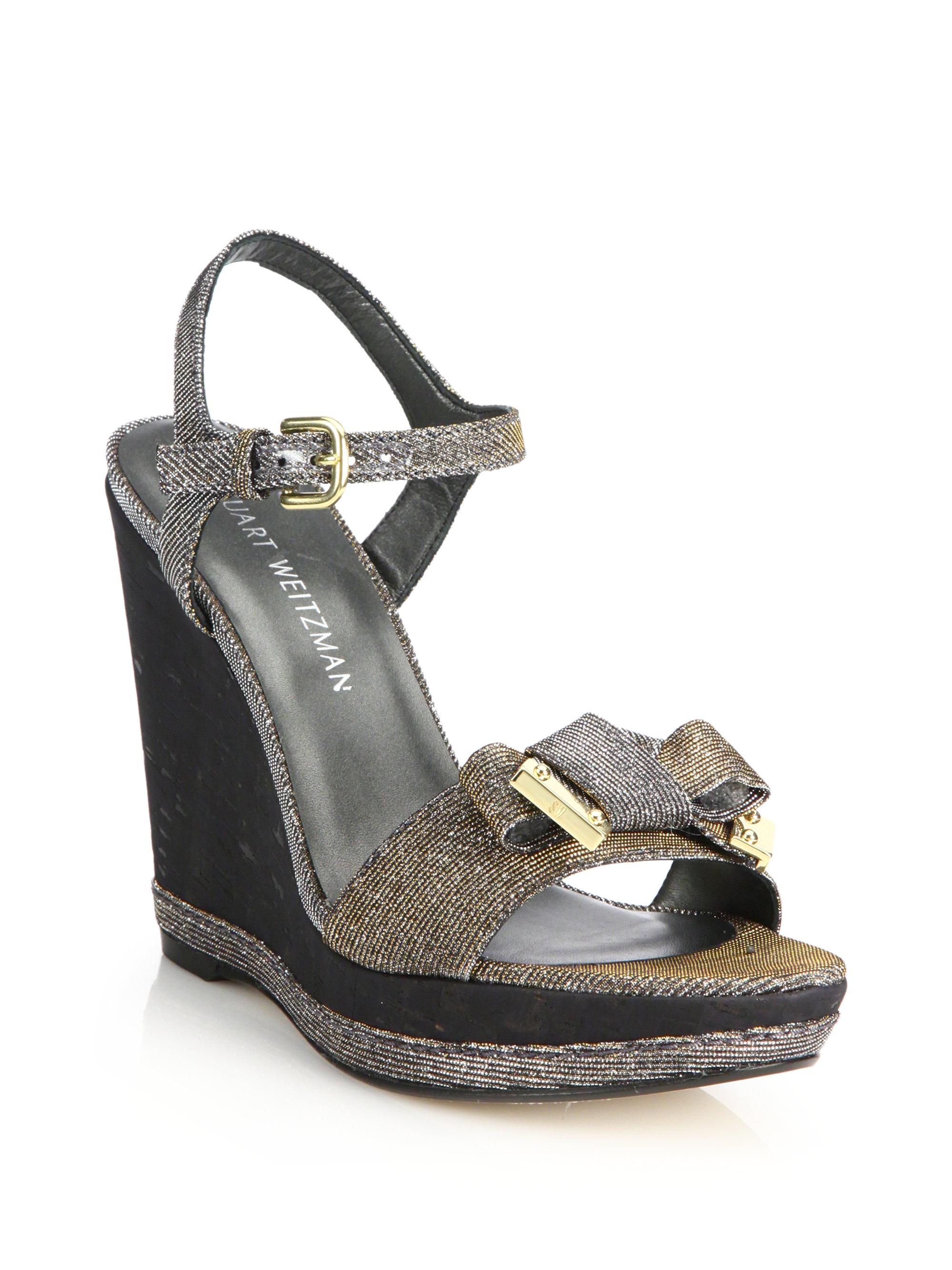stuart weitzman bonbon noir cork wedge sandals lyst