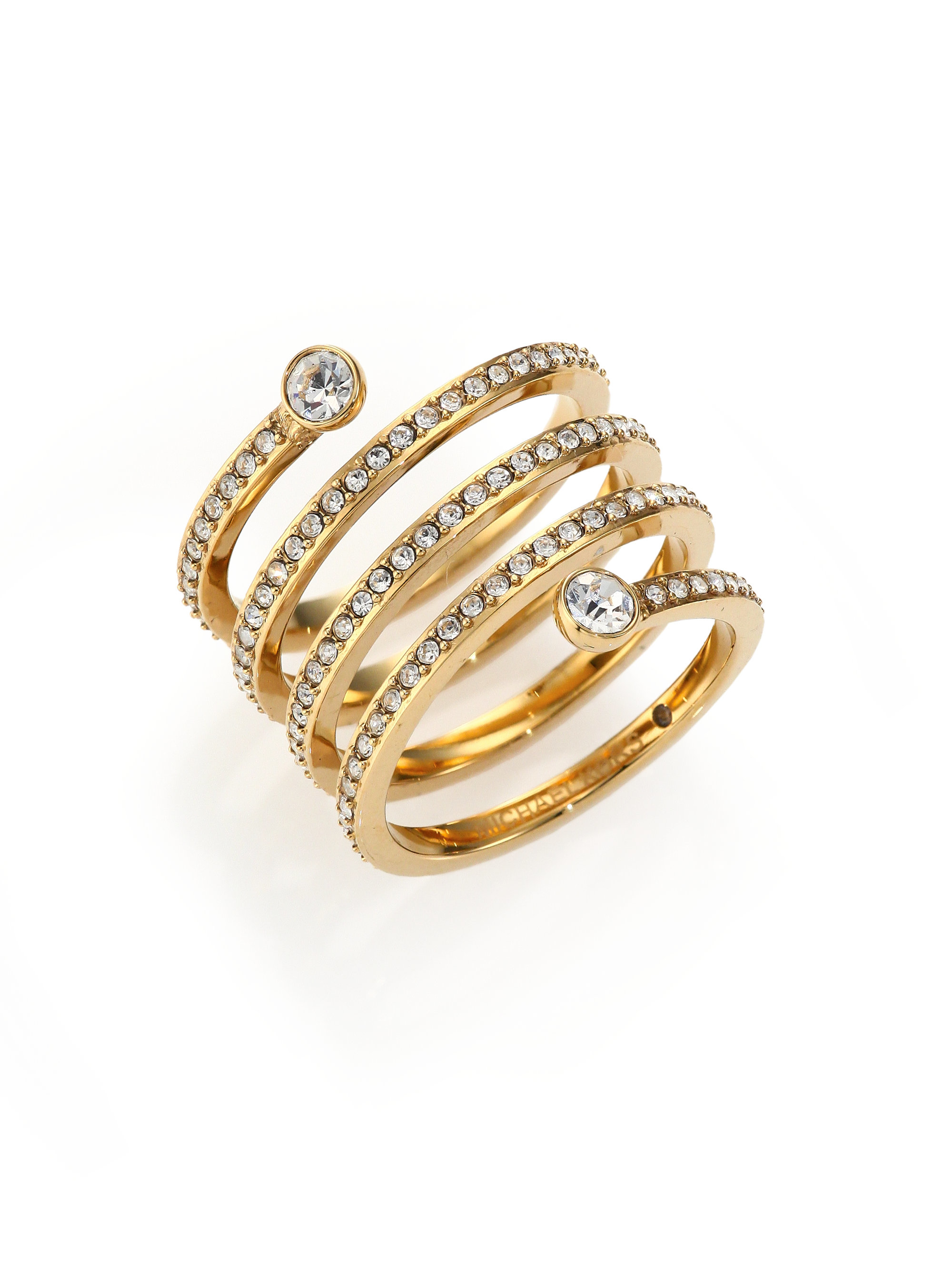 86625441fce4 Lyst - Michael Kors Park Avenue Glam Pave Spiral Ring goldtone in ...