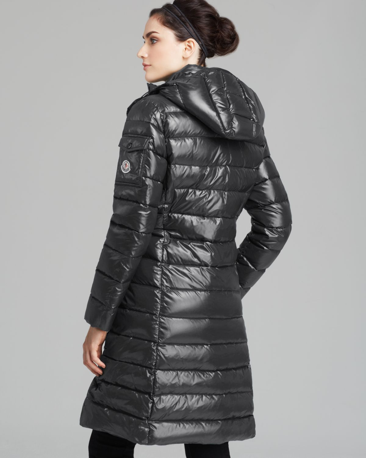 Moncler Moka Quilted Mid Length Down Coat in Gray | Lyst
