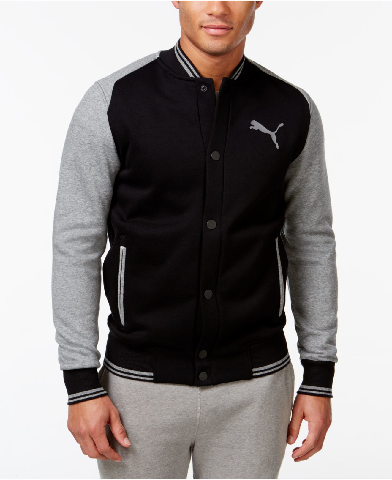 Puma Men's Varsity Bomber Jacket in Black for Men | Lyst