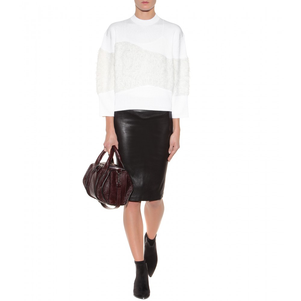 helmut lang leather pencil skirt in black black true to