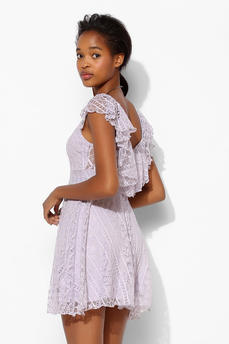 Kimchi blue valencia lace flutter back dress in purple lyst - Urban outfitters valencia ...