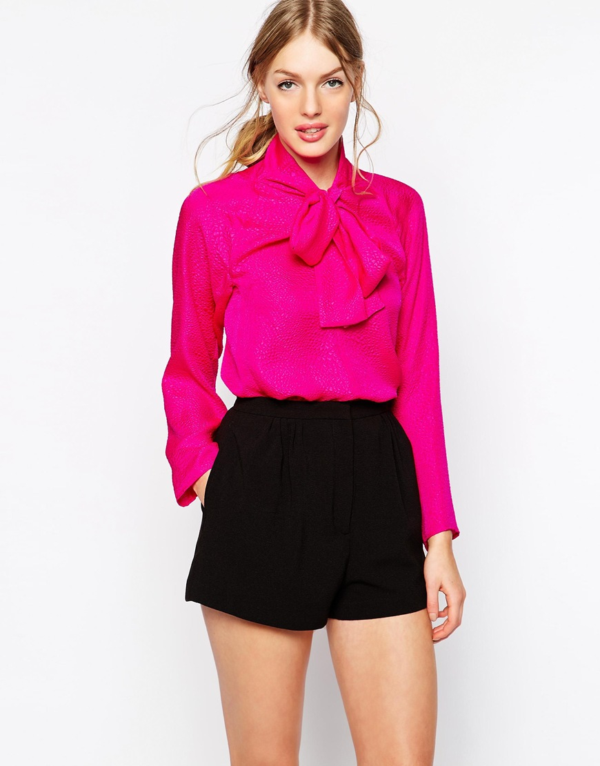 See by chloé Tie Neck Blouse in Pink | Lyst
