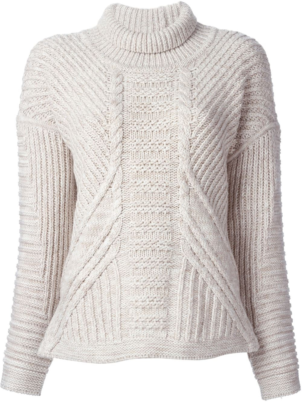 Duffy Cable Knit Turtle-neck Sweater in Natural | Lyst