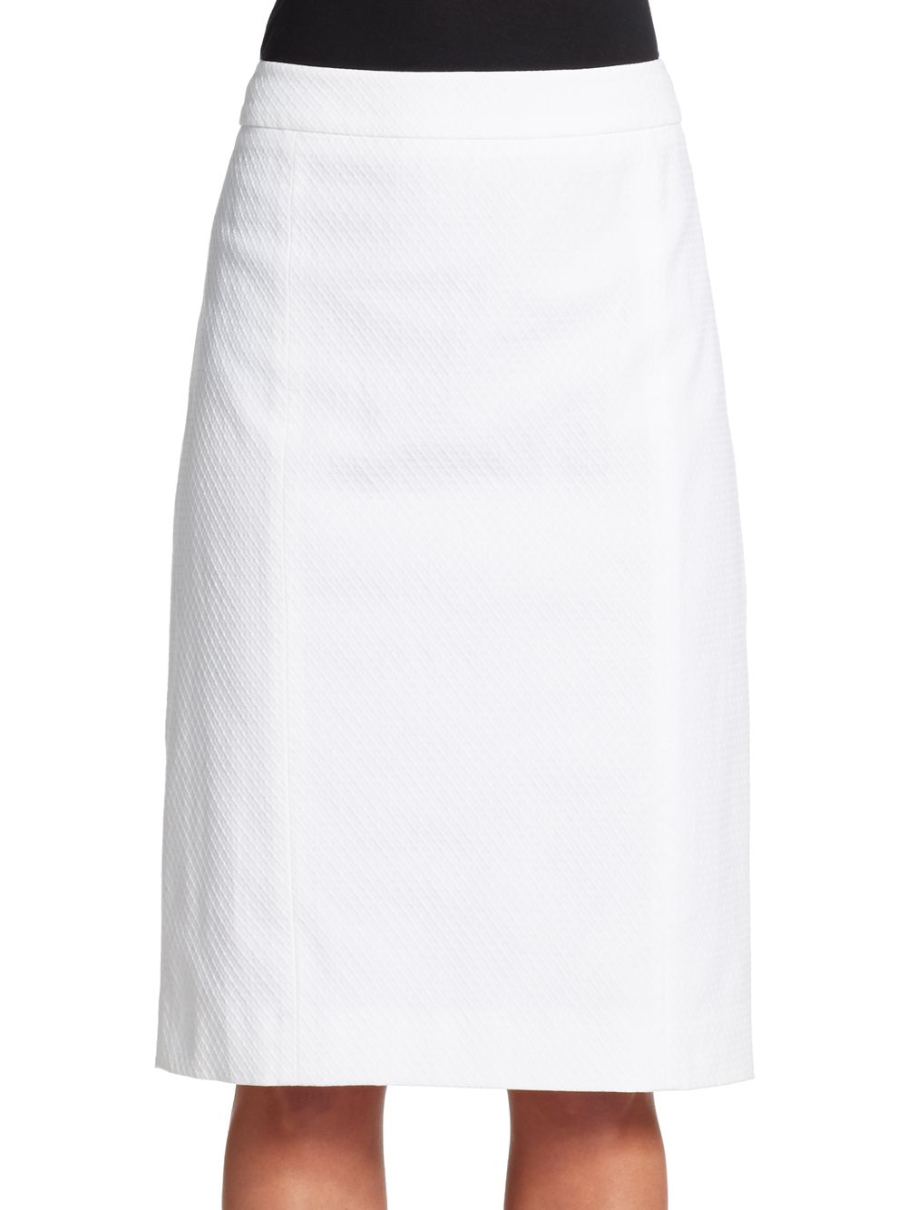 valentino stretch cotton pencil skirt in white lyst