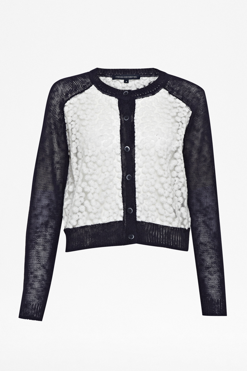 French connection Laila Lace Cropped Cardigan in White   Lyst