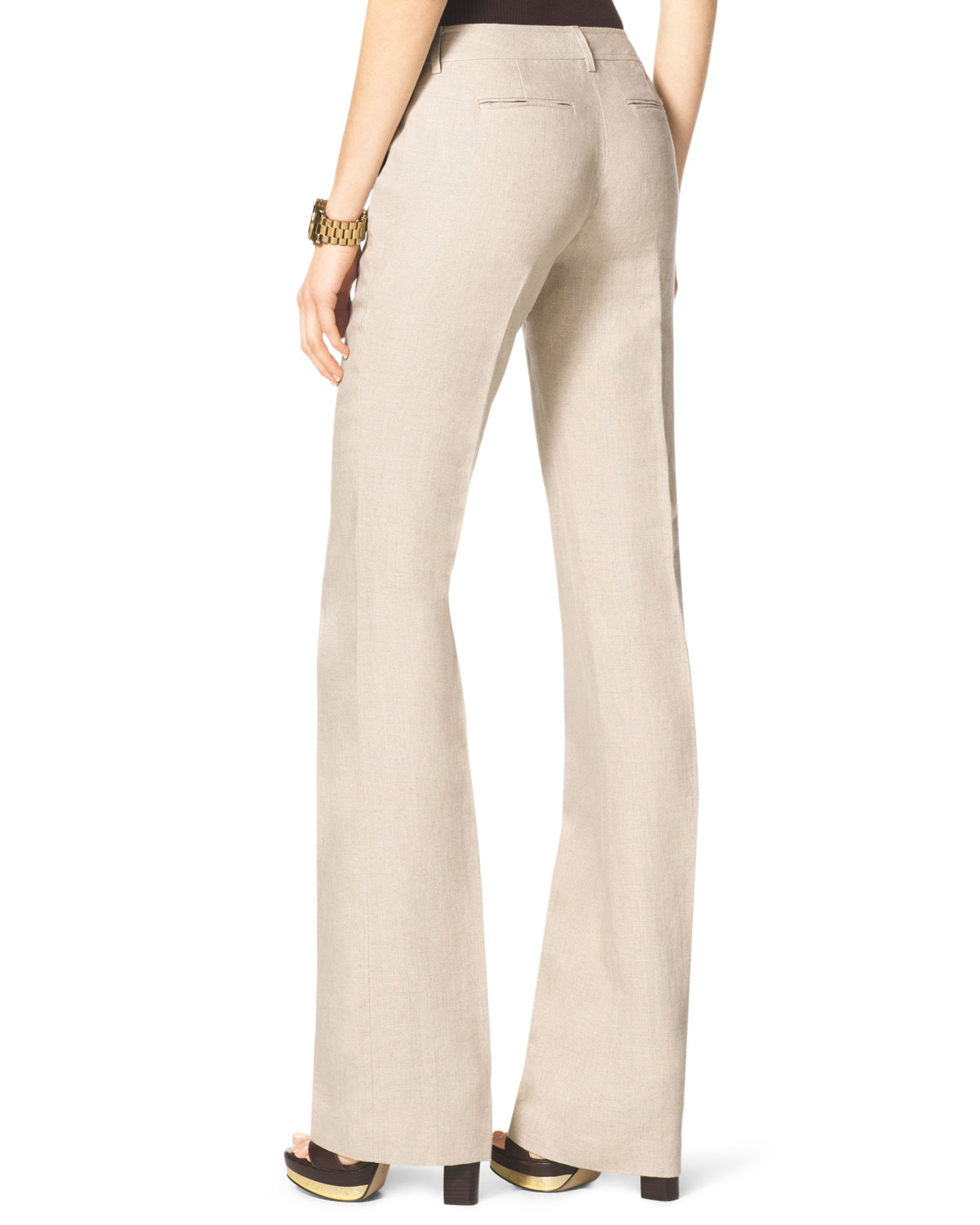 Michael kors Linen Bootcut Trousers in Natural | Lyst