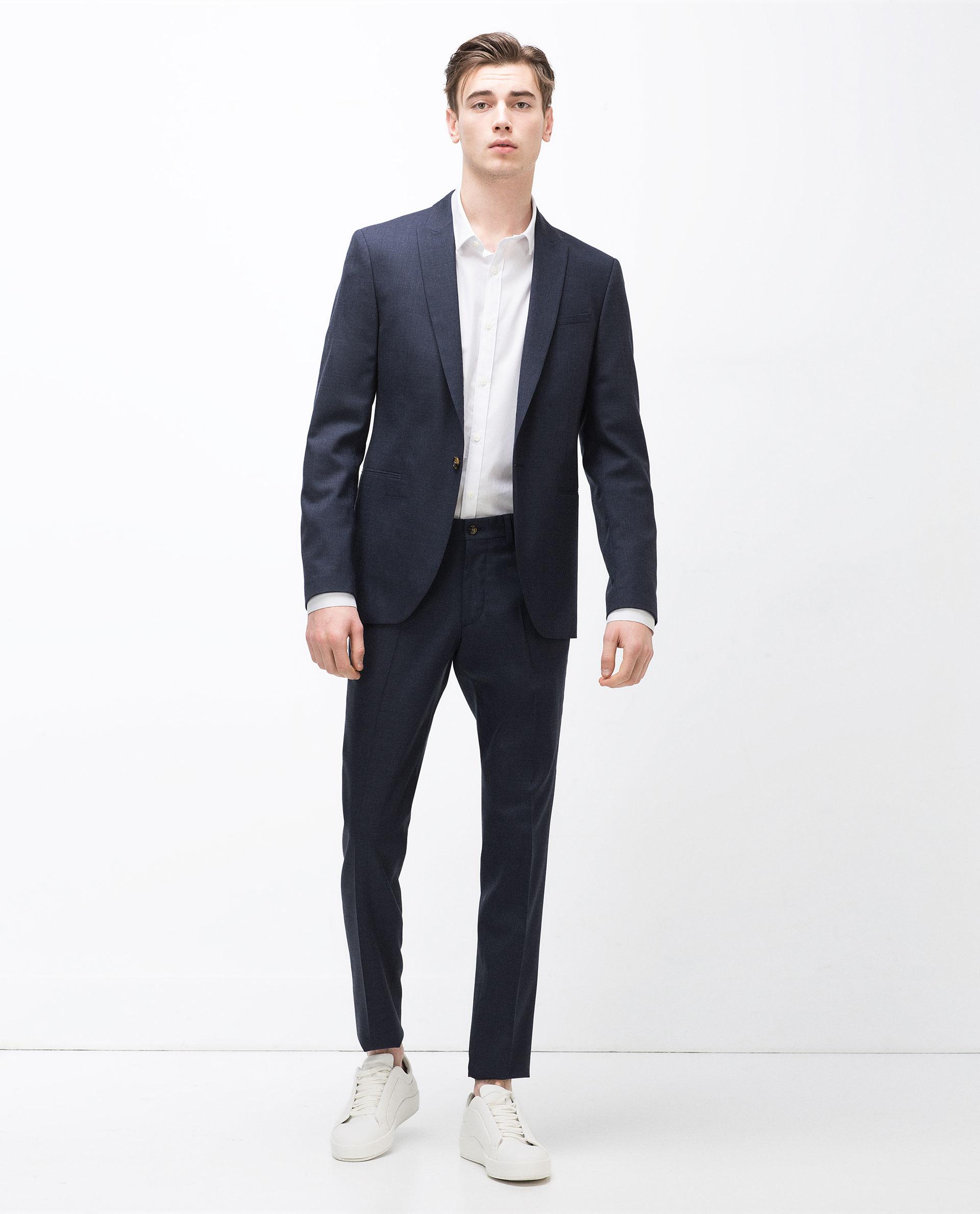 zara suit blazer in blue for men lyst. Black Bedroom Furniture Sets. Home Design Ideas