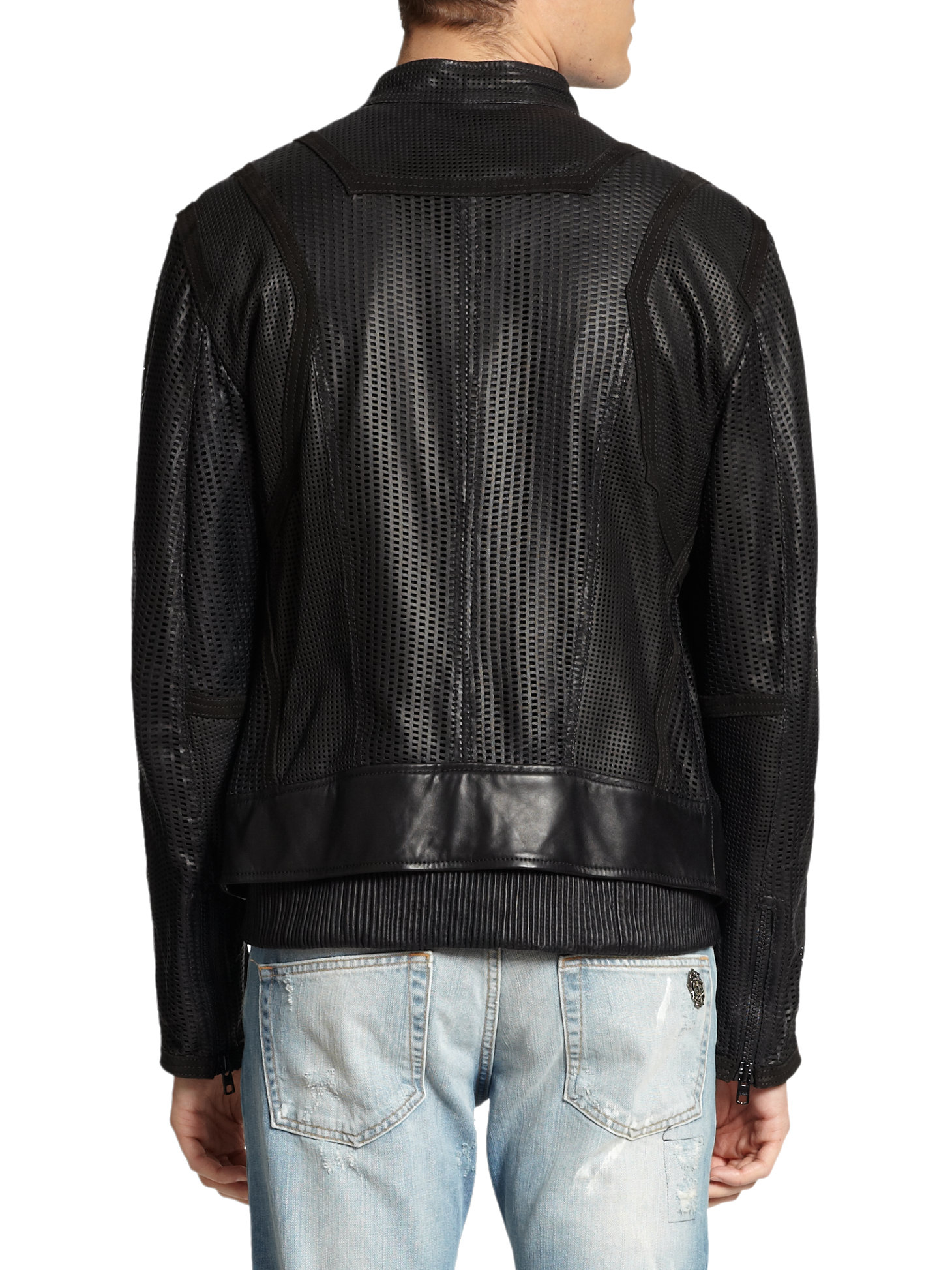 Just Cavalli Perforated Leather Jacket In Black For Men Lyst