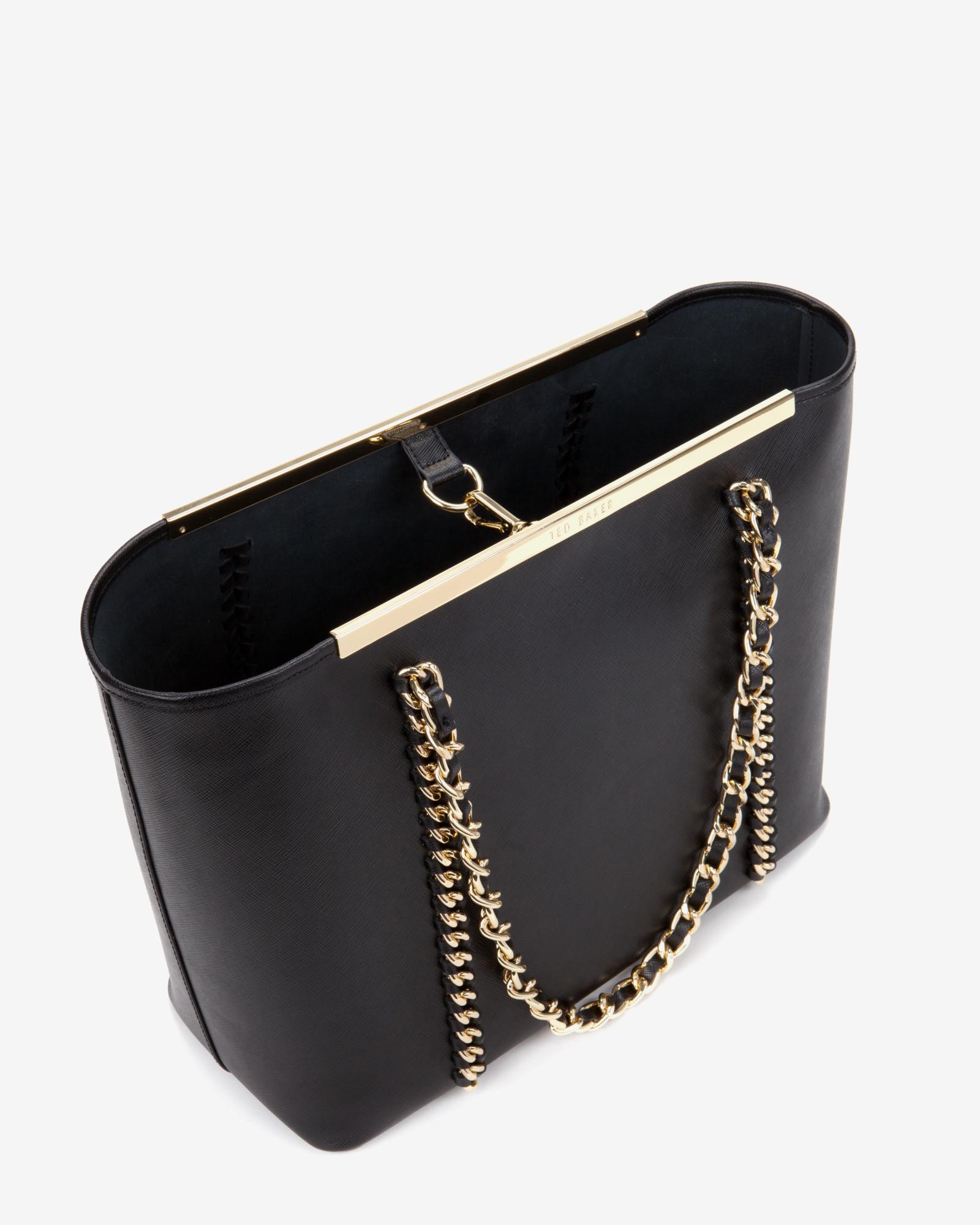 Black leather gloves asos - Ted Baker Metal Chain Shopper Bag In Black Lyst