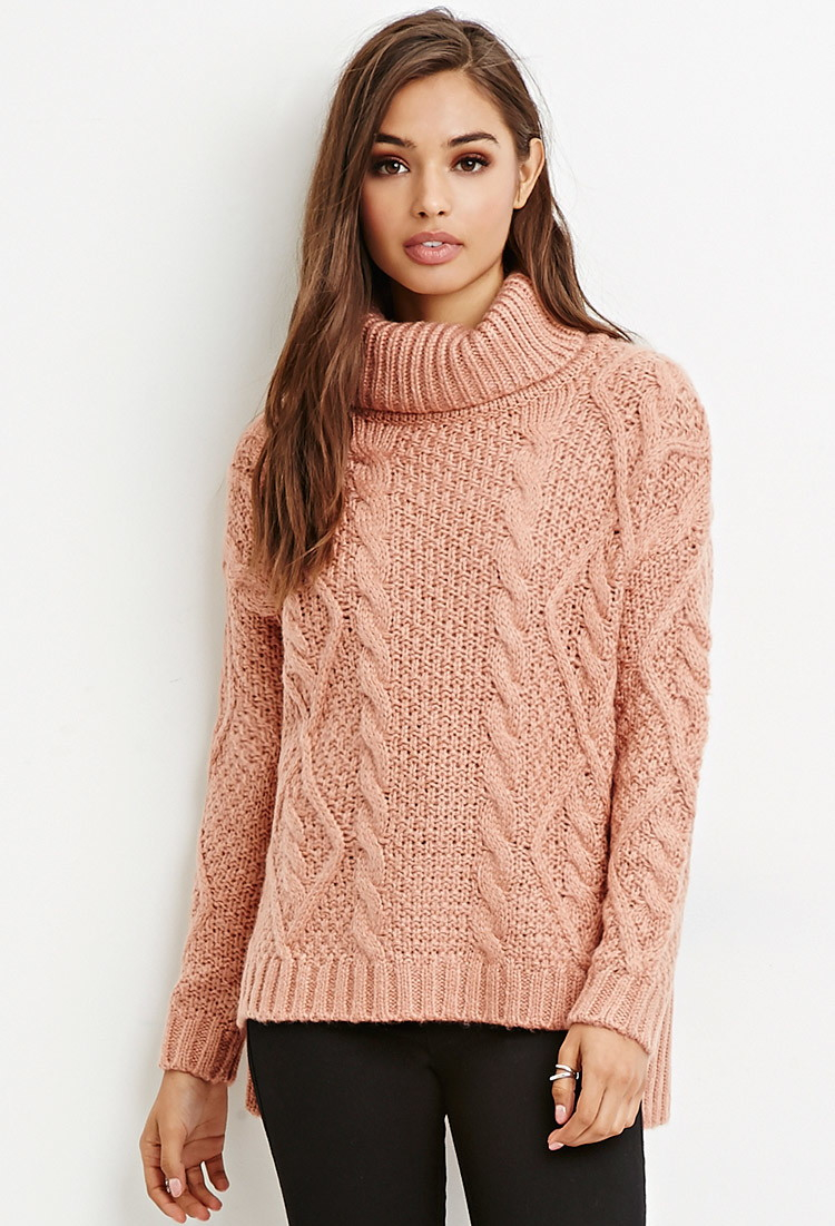 Forever 21 Cable Knit Turtleneck Sweater in Purple | Lyst