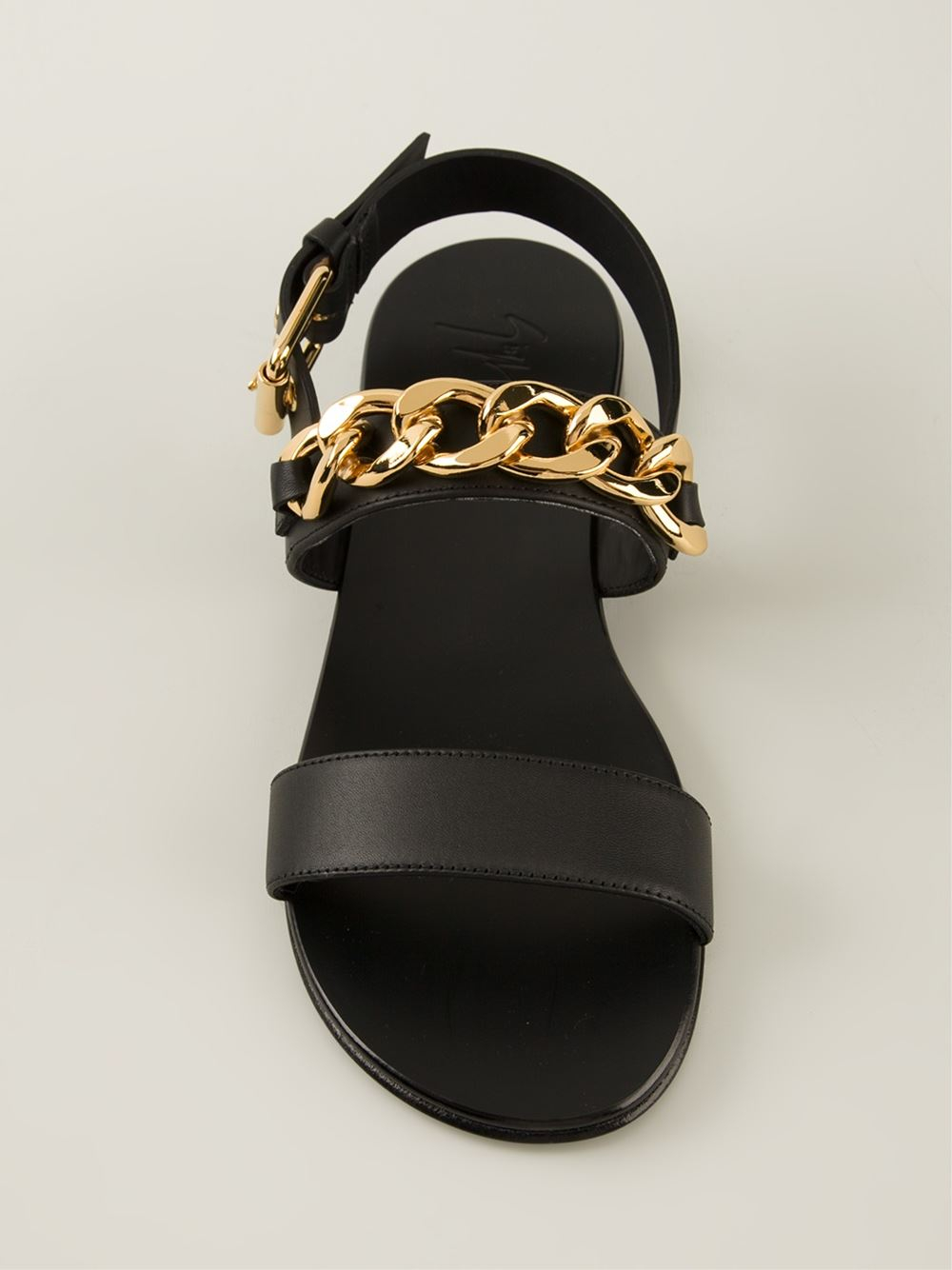 bbbf9127330e4 ... free shipping lyst giuseppe zanotti chain trim sandals in black for men  32736 93ee2