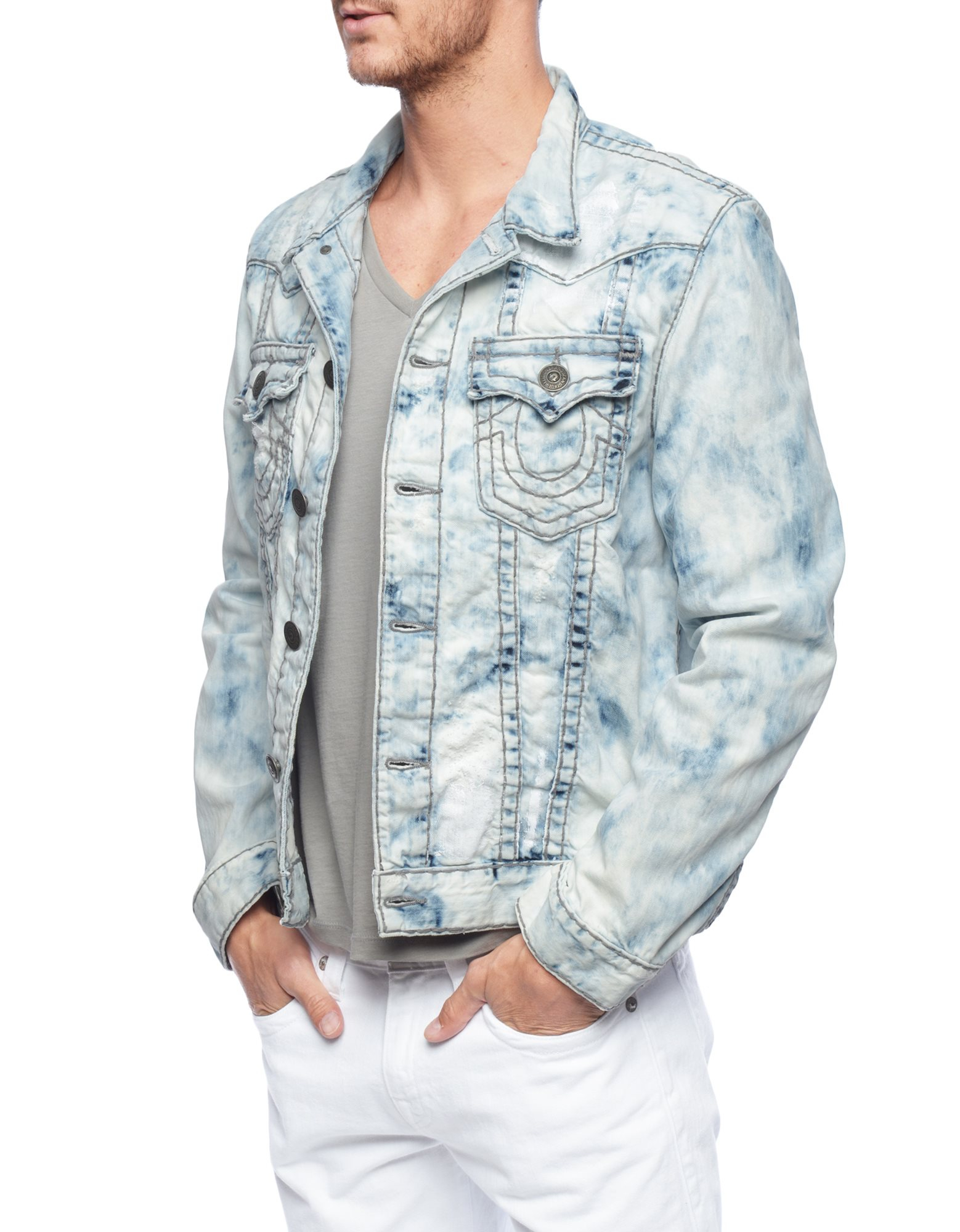 true religion jimmy reef super t mens denim jacket in blue. Black Bedroom Furniture Sets. Home Design Ideas