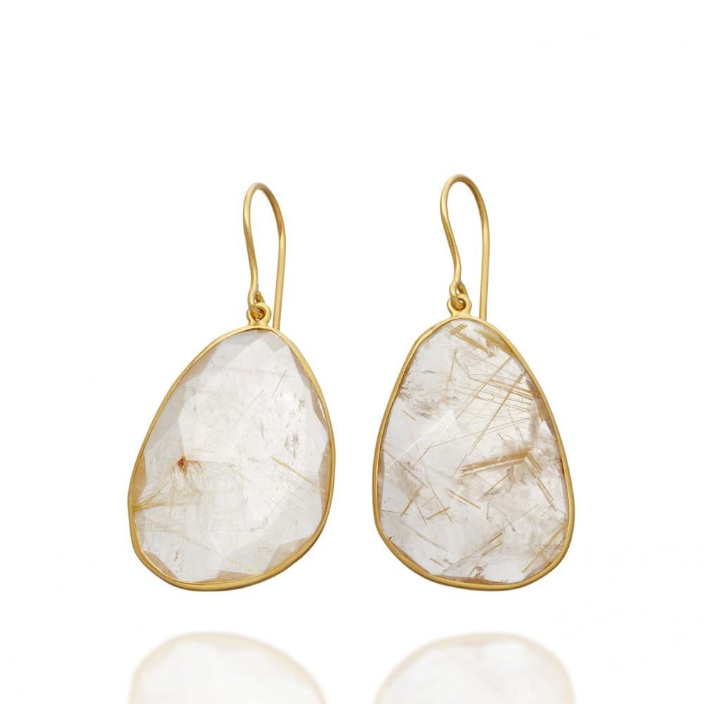Pippa Small Rutilated Quartz Earrings In Gold Metallic