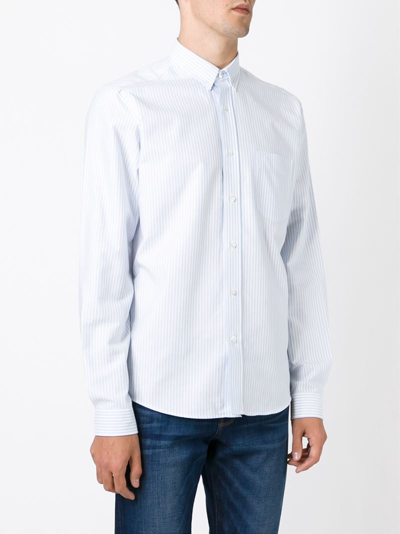 Ami classic button down shirt in blue for men lyst for Preppy button down shirts