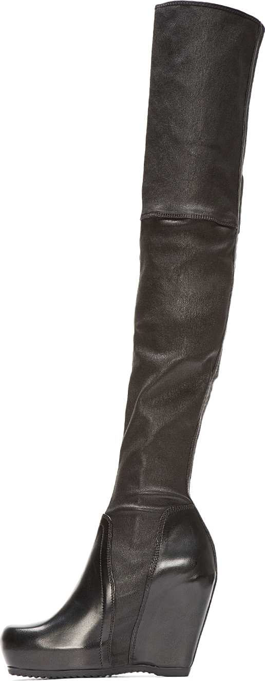 Black Sock Wedge Over-The-Knee Boots Rick Owens ml0ms