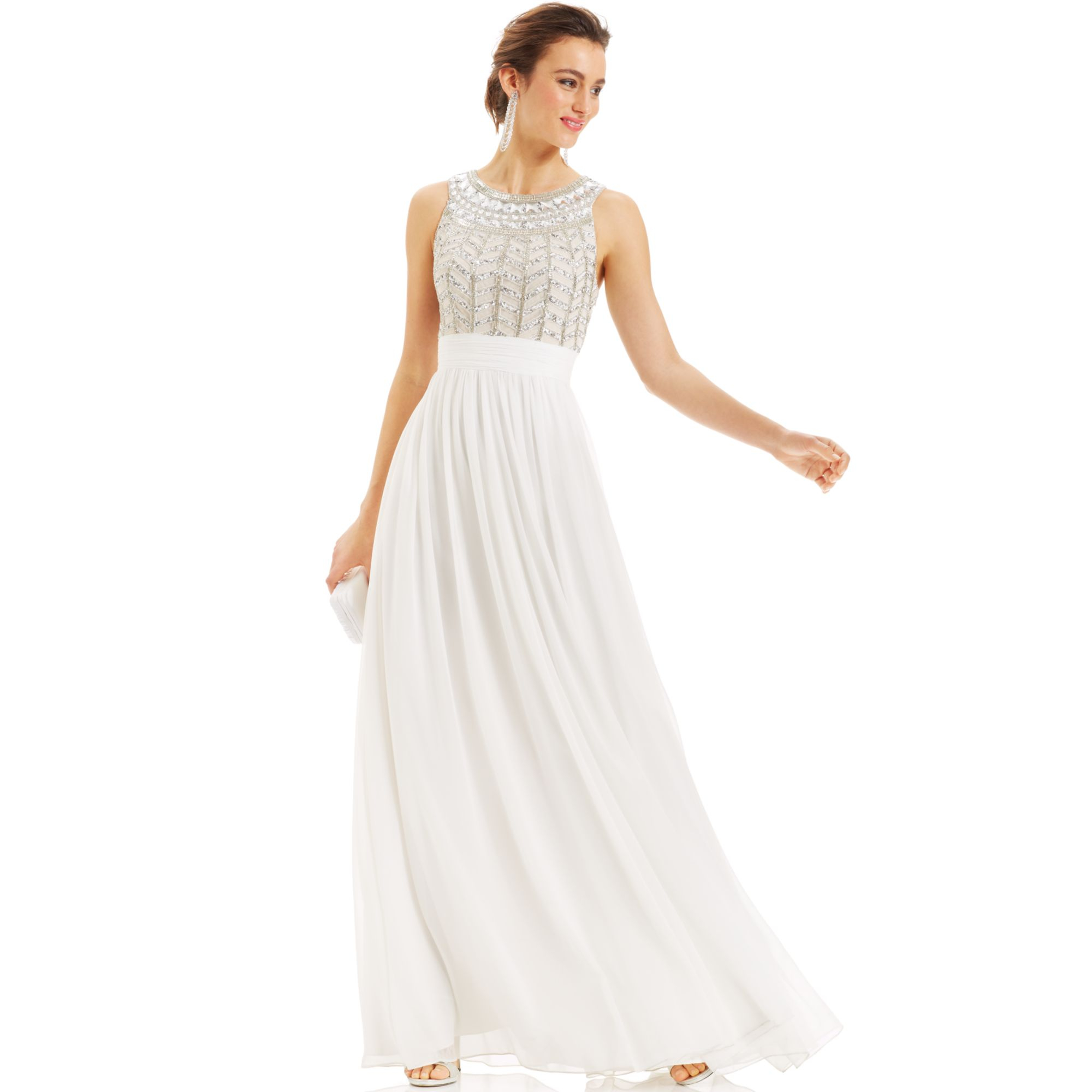 Lyst Js Collections Dress Sleeveless Beaded Empirewaist Gown In White