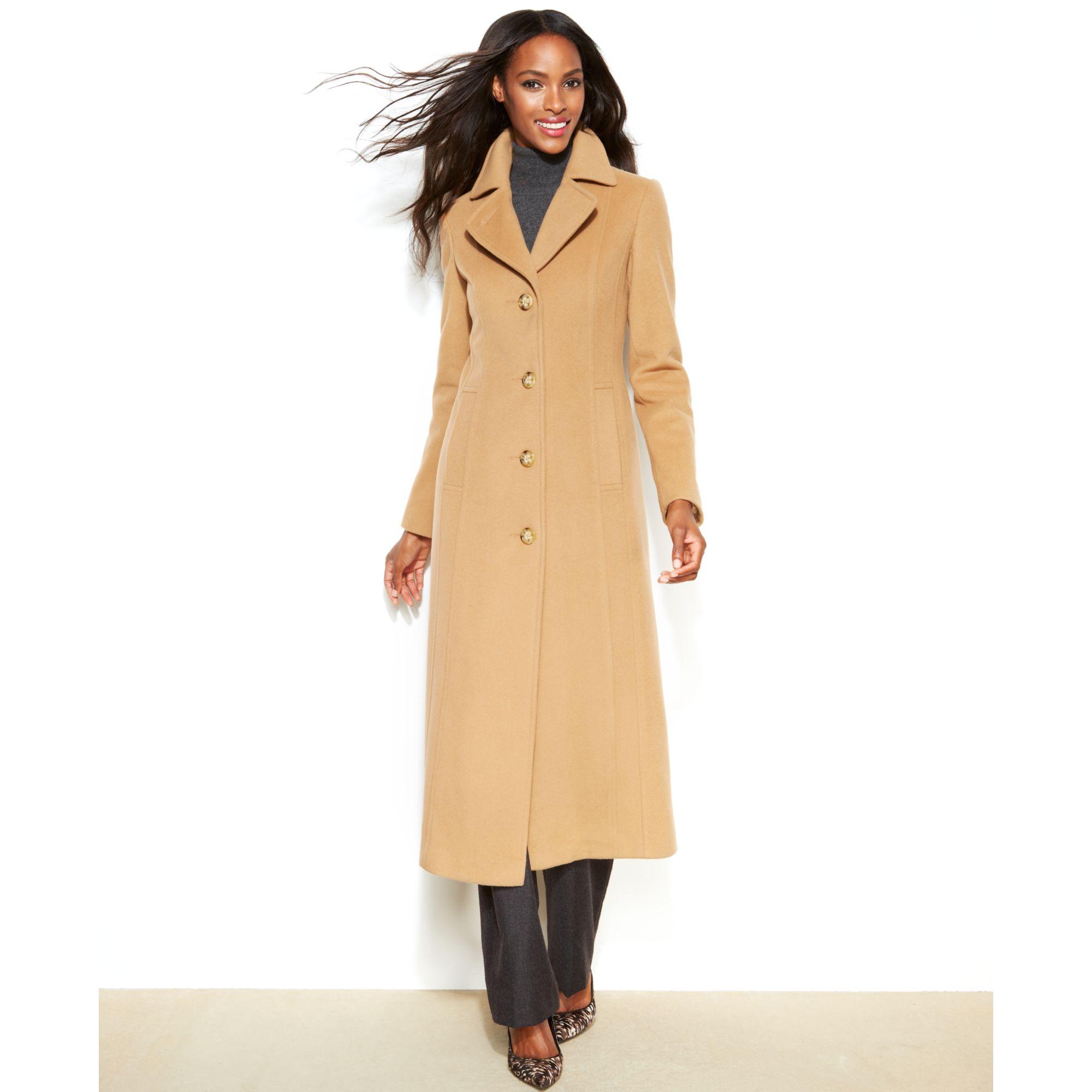 anne klein wool cashmere blend maxi walker coat in brown camel lyst. Black Bedroom Furniture Sets. Home Design Ideas