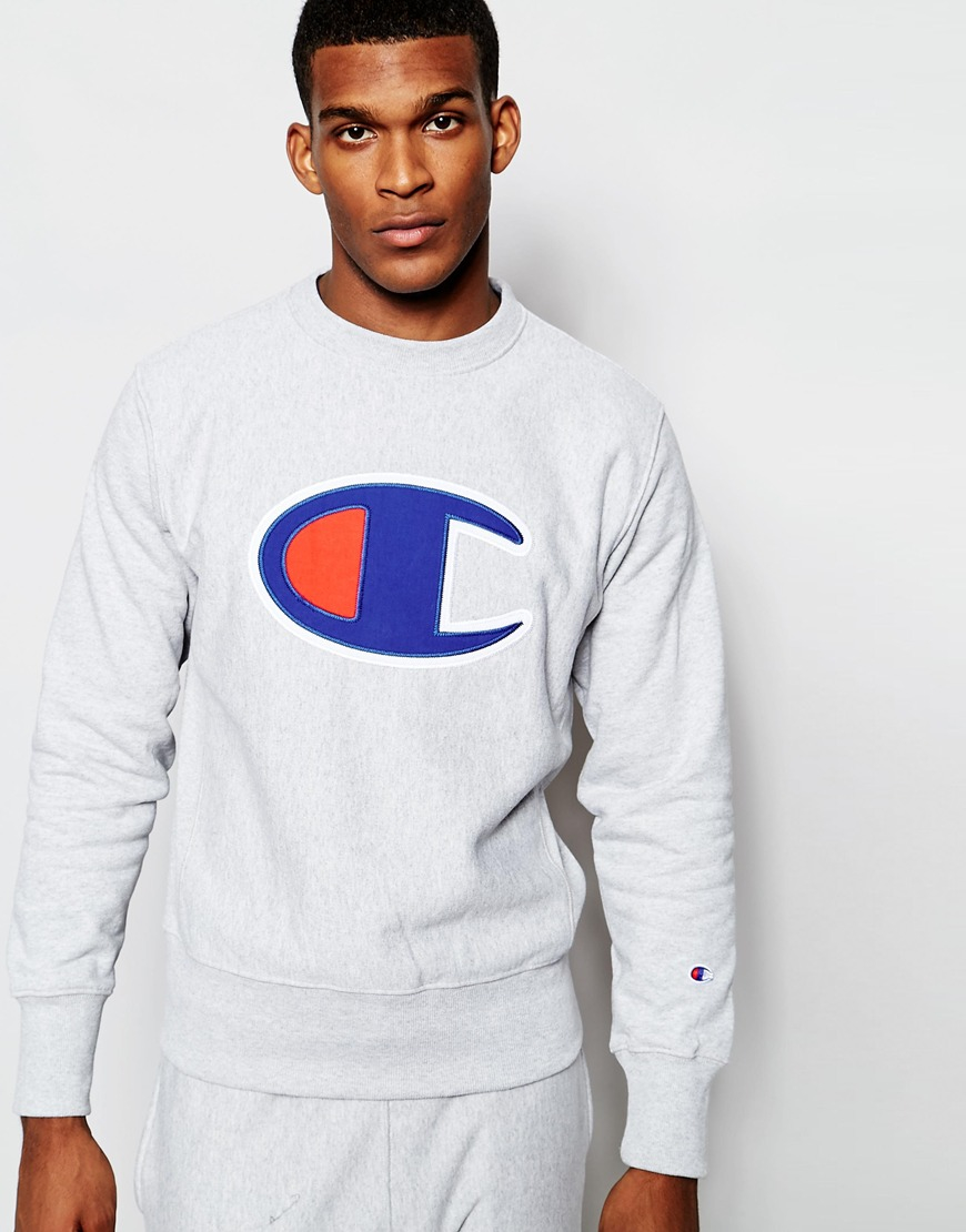 Champion Sweatshirt With Big C Logo in Gray for Men | Lyst
