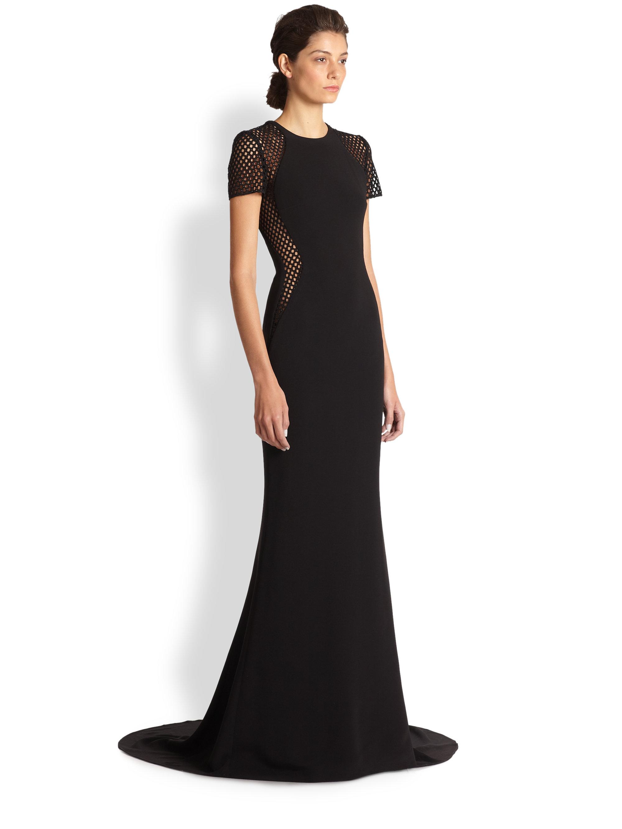 Lyst - Stella Mccartney Belinda Mesh Insert Gown in Black