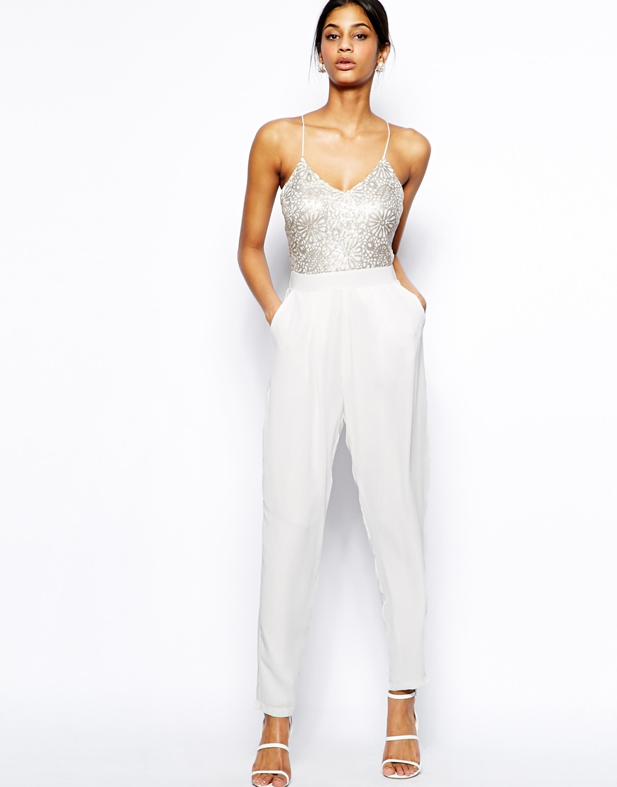 c7cee56b73604 TFNC London Cami Jumpsuit with Sequin Embellished Bodice in White - Lyst